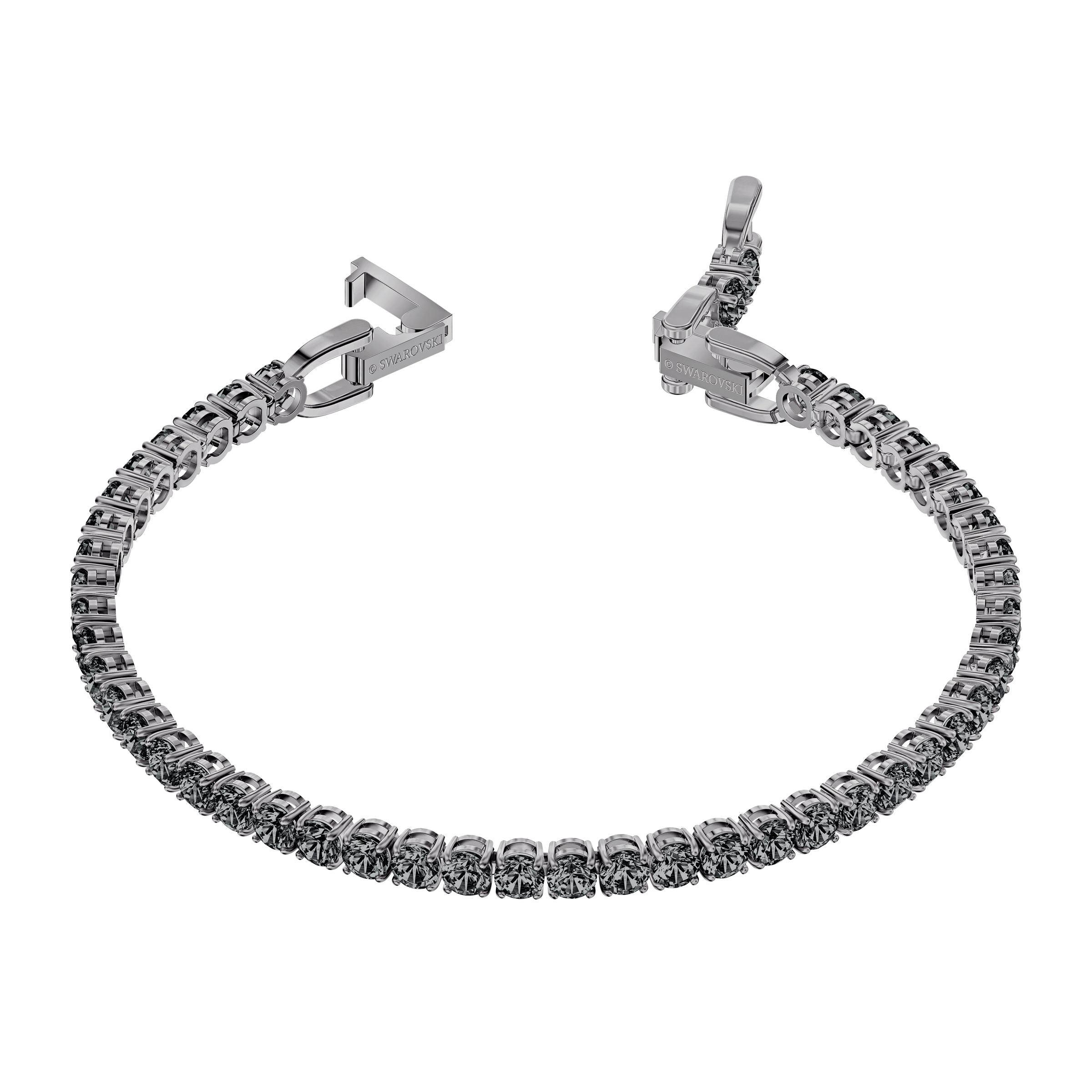 Bracelet Tennis Deluxe, gris, Métal plaqué ruthénium, Swarovski