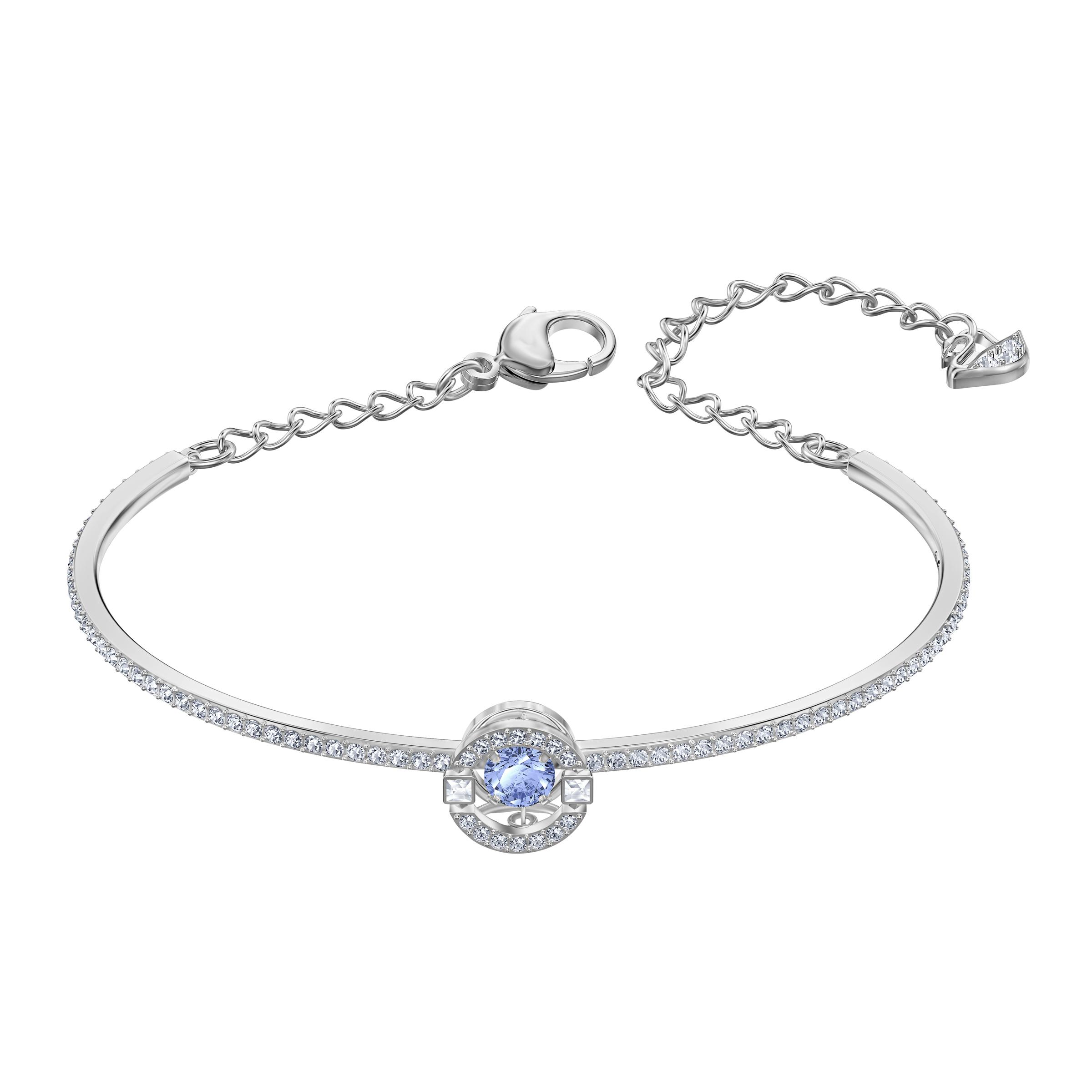 Bracelet-jonc Swarovski Sparkling Dance, bleu, Métal rhodié, Swarovski