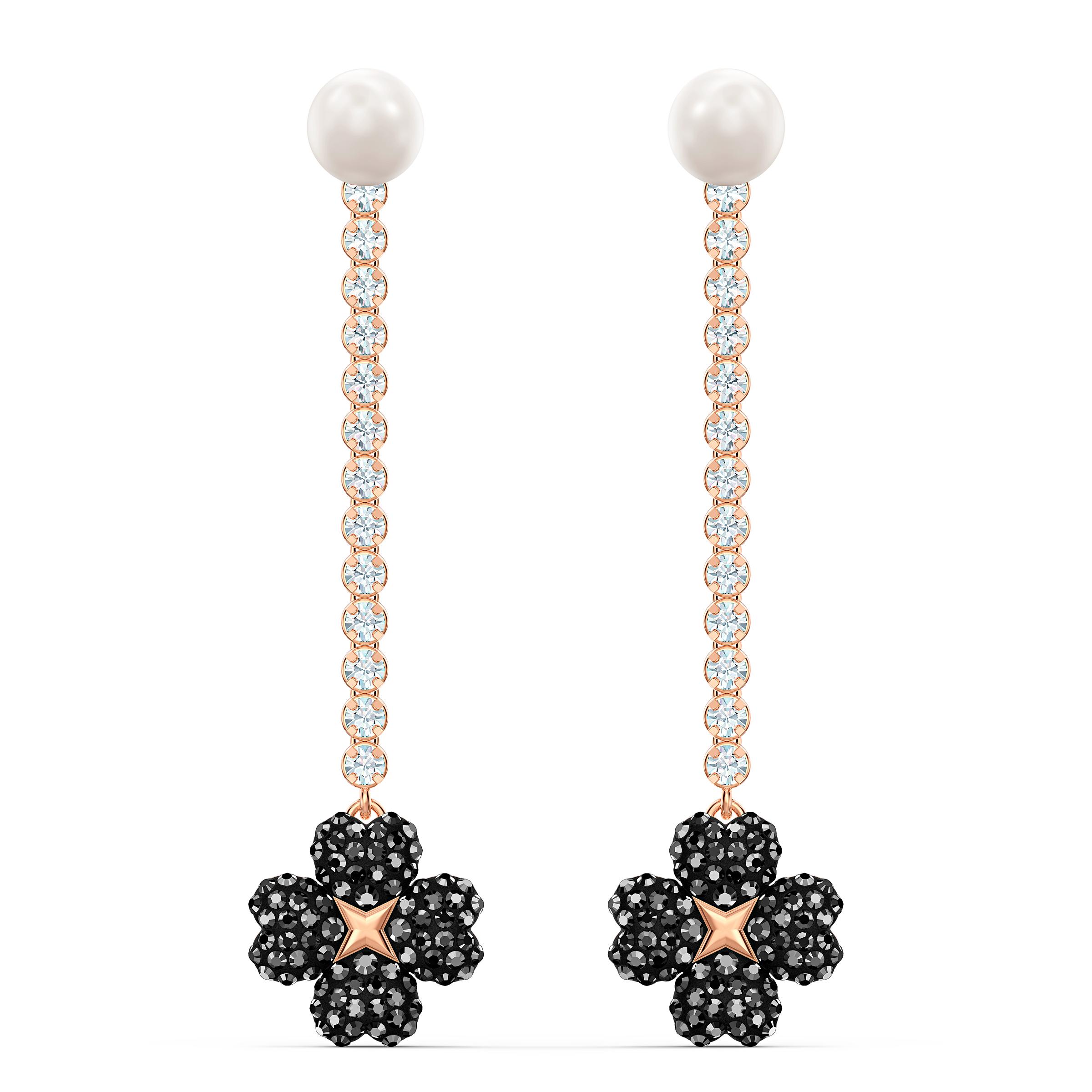 Boucles d'oreilles Latisha, noir, métal doré rose, Swarovski