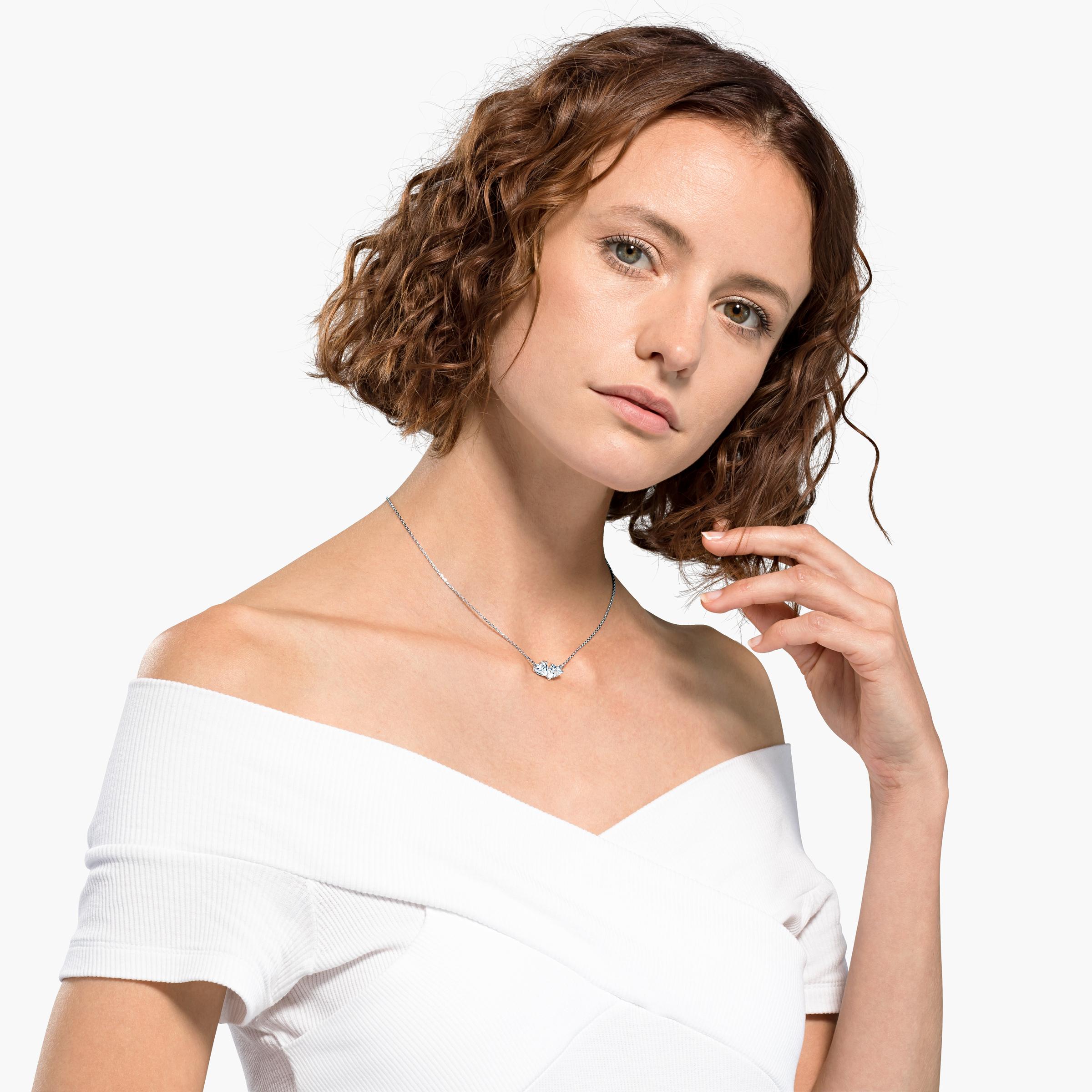 Collier Attract Soul, blanc, métal rhodié Swarovski