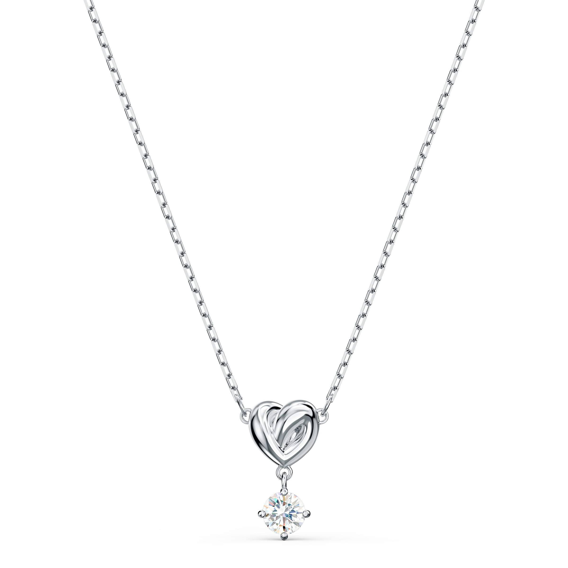 Pendentif Lifelong Heart, blanc, métal rhodié Swarovski