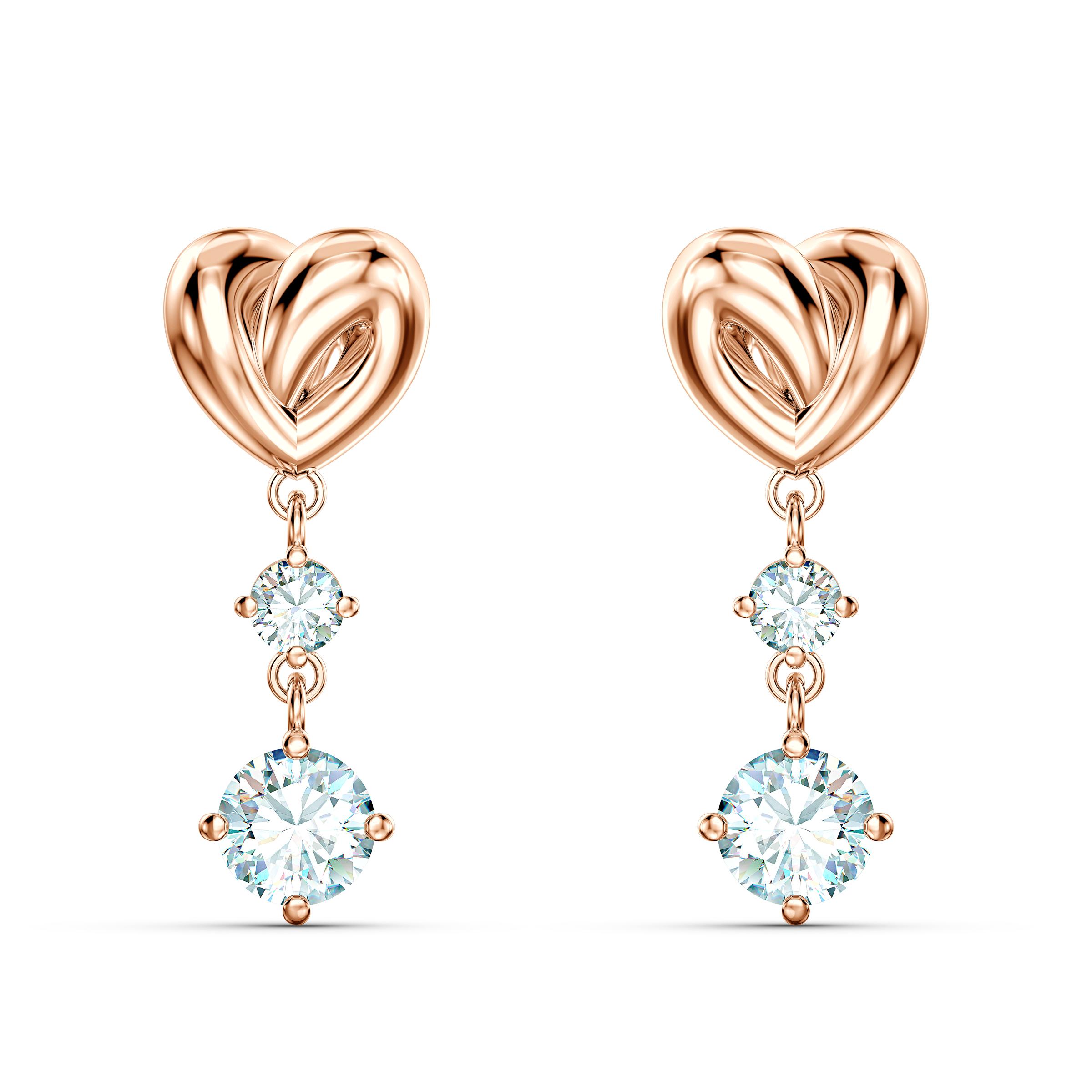 Boucles d'oreilles Lifelong Heart, blanc, métal doré rose, Swarovski