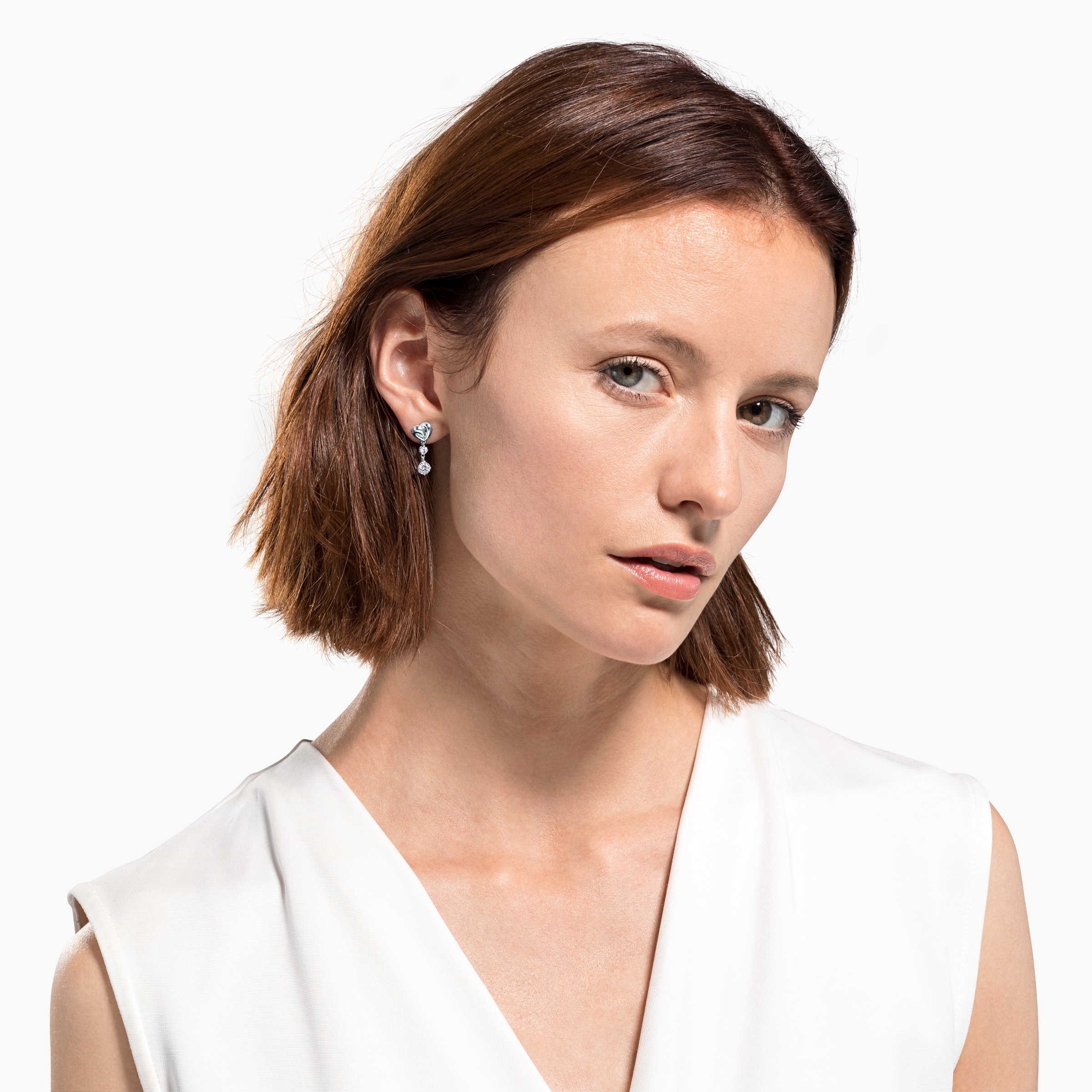 Boucles d'oreilles Lifelong Heart, blanc, métal rhodié, Swarovski