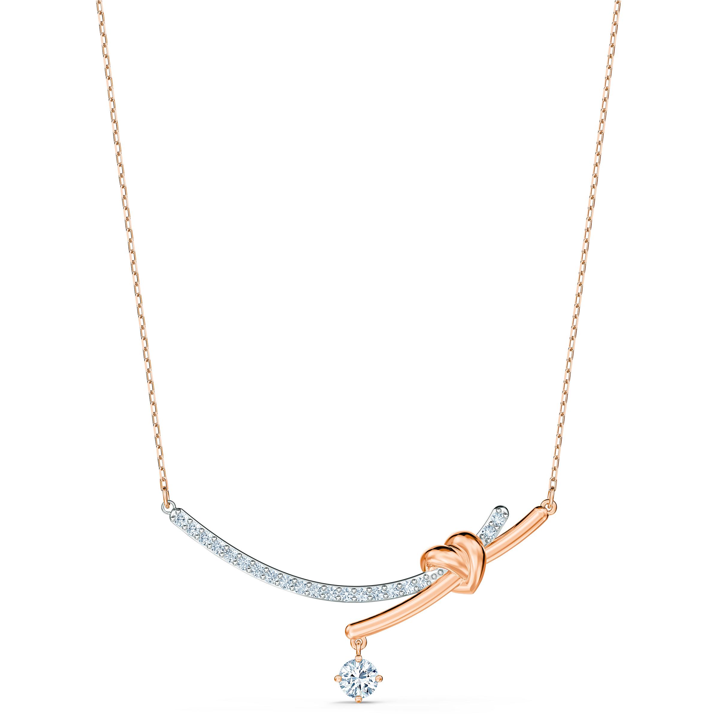 Collier Lifelong Heart, blanc, finition mix de métal, Swarovski
