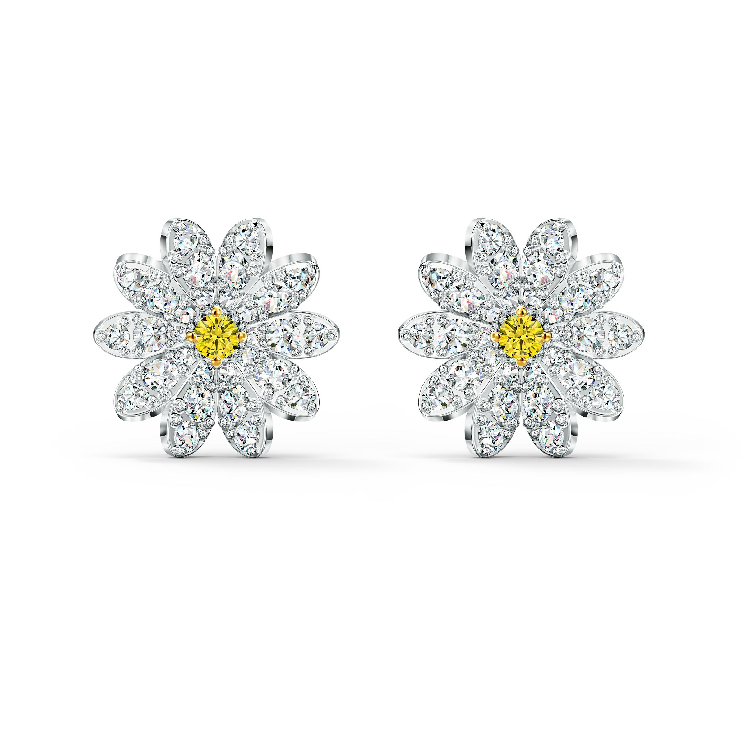 Boucles d'oreilles clous Eternal Flower, jaune, finition mix de métal, Swarovski