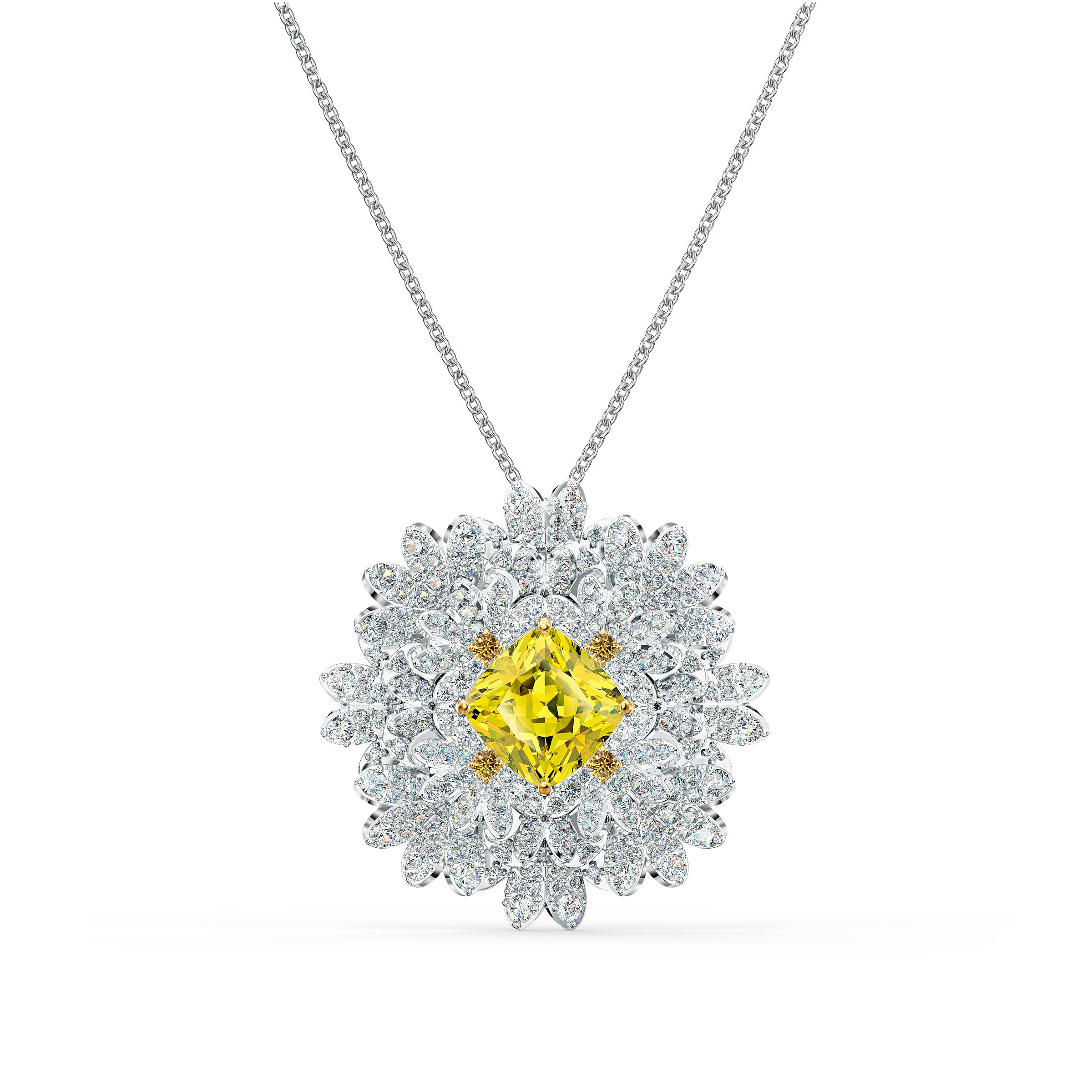 Broche Eternal Flower, jaune, finition mix de métal, Swarovski