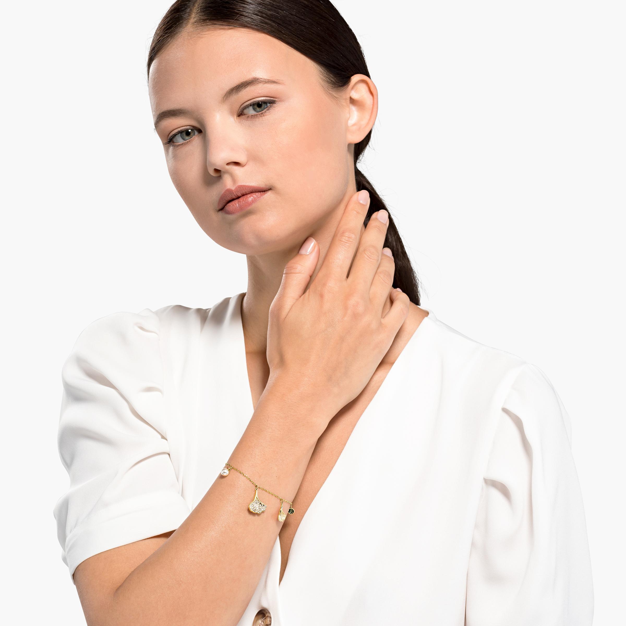 Bracelet Stunning Ginko, vert, métal doré, Swarovski