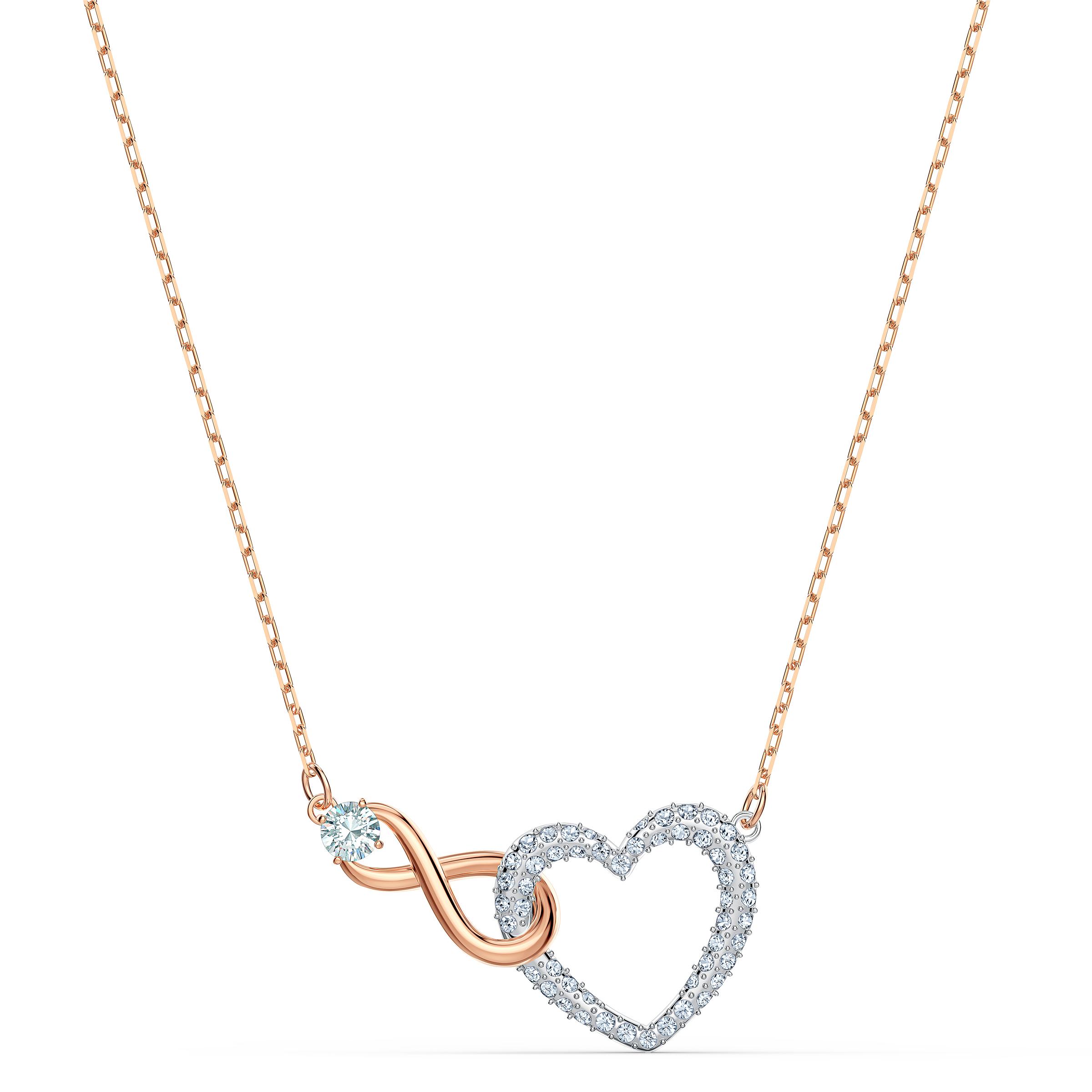 Collier Swarovski Infinity Heart, blanc, finition mix de métal, Swarovski