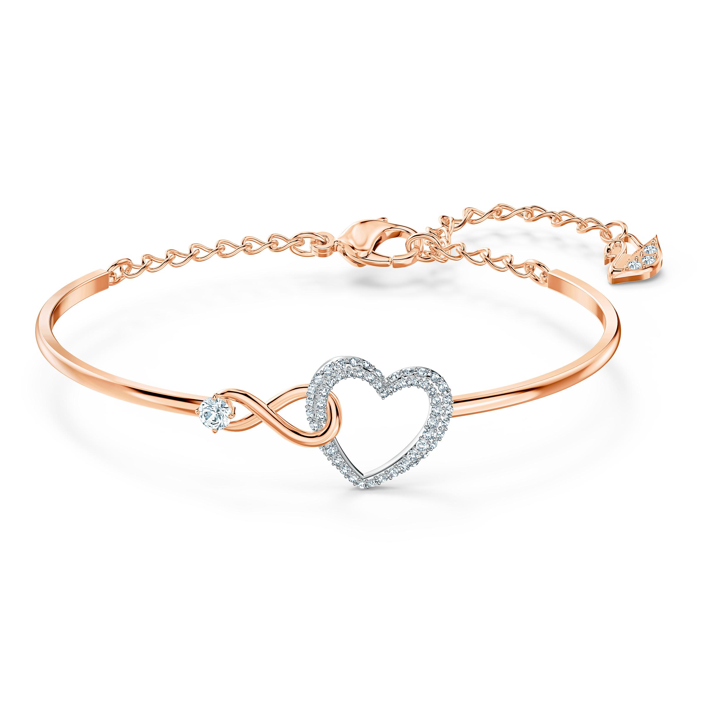 Bracelet-jonc Swarovski Infinity Heart, blanc, finition mix de métal Swarovski