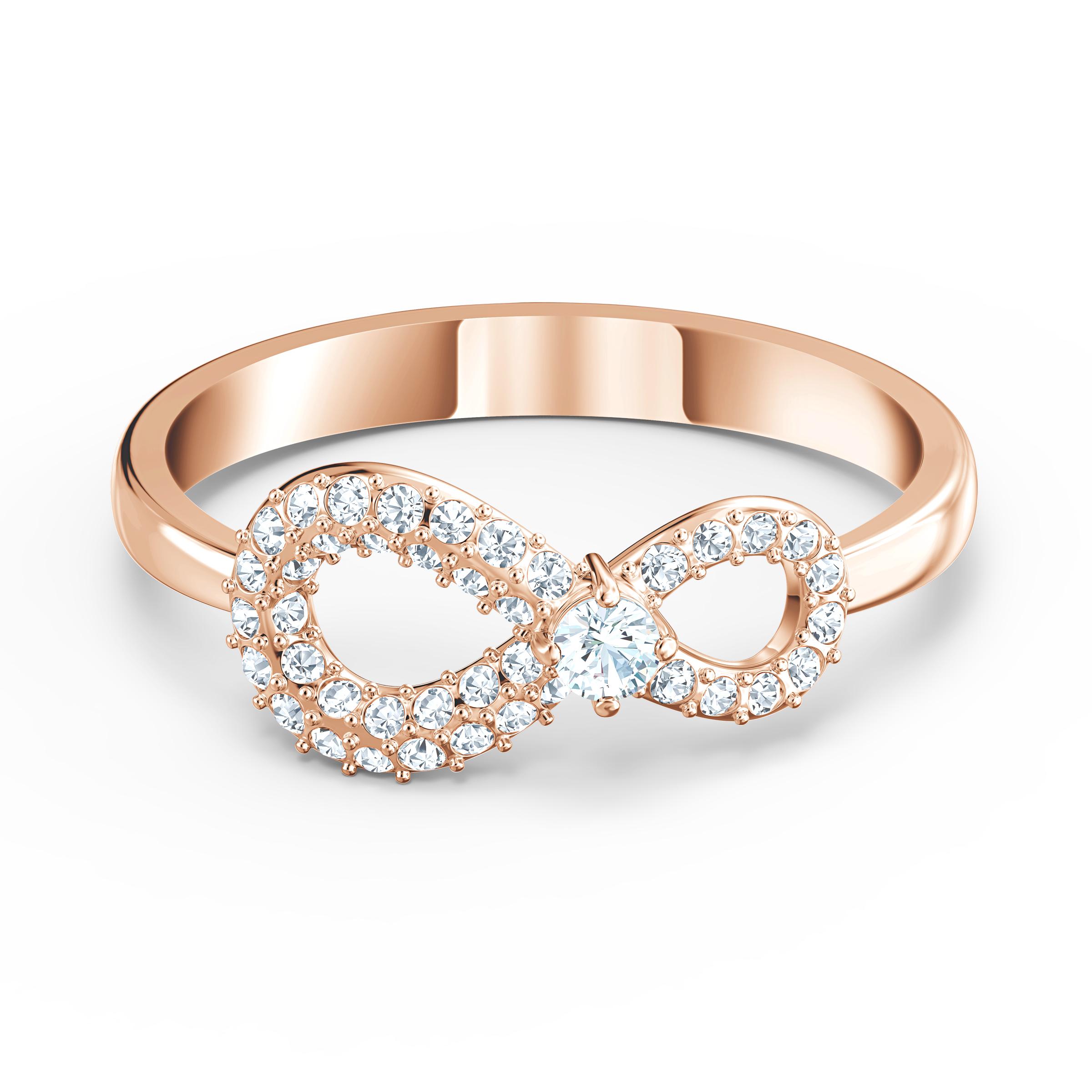 Bague Swarovski Infinity, blanc, métal doré rose, Swarovski