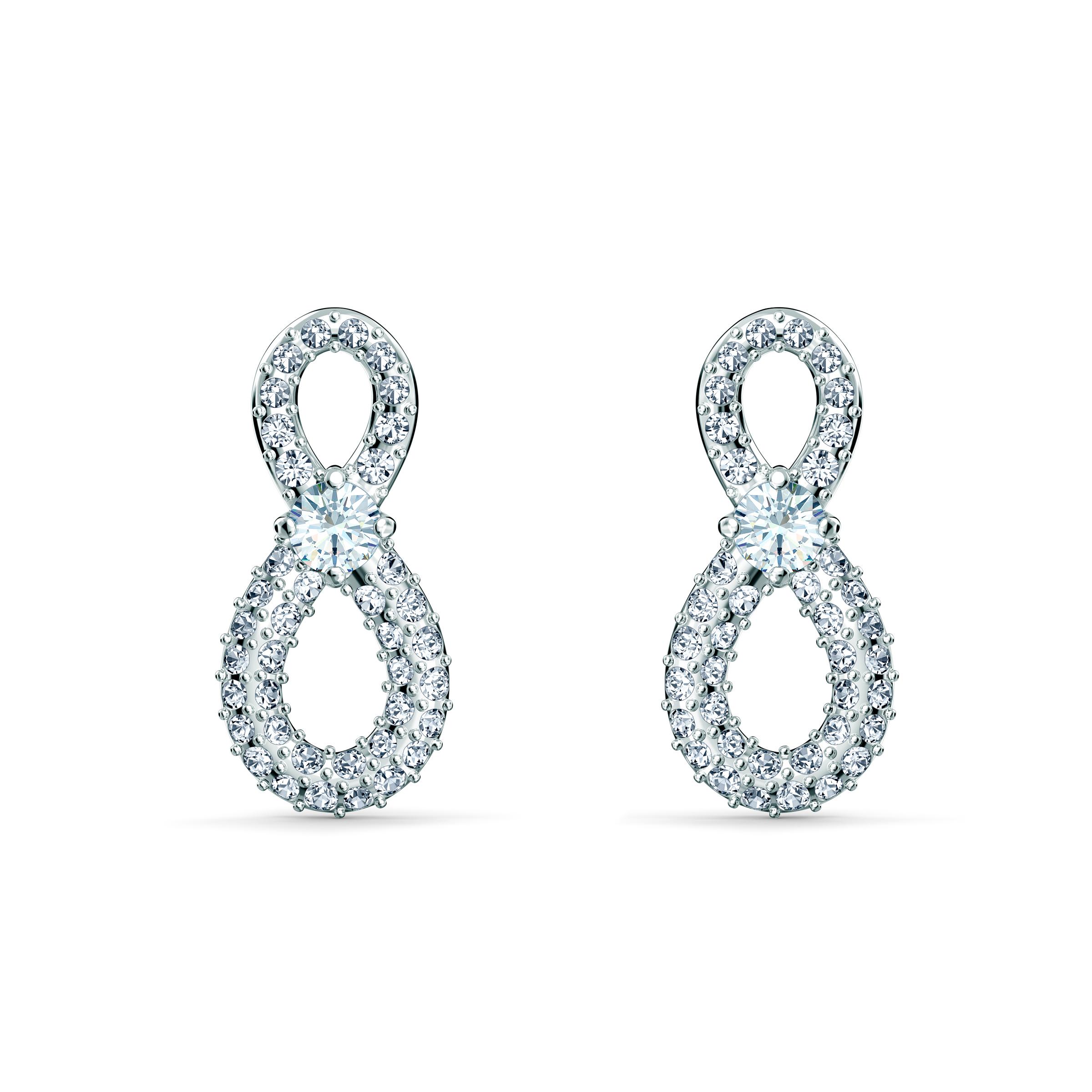 Boucles d'oreilles Swarovski Infinity Mini, blanc, métal rhodié, Swarovski