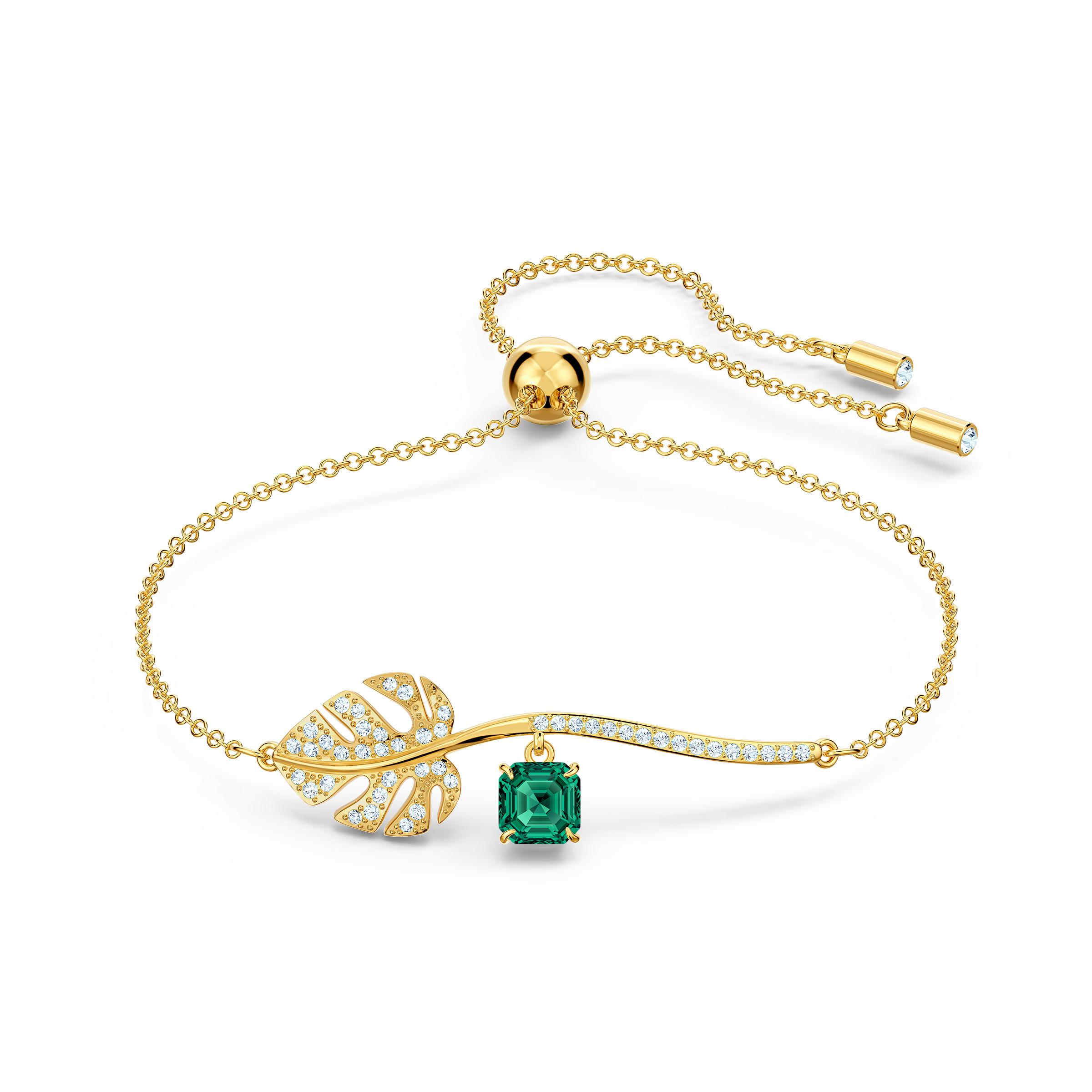 Bracelet Tropical, vert, métal doré, Swarovski