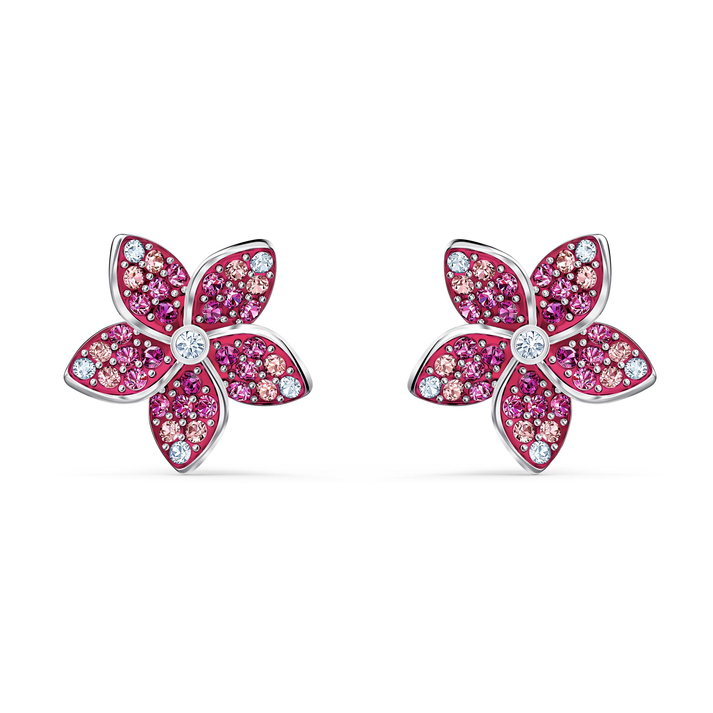 Boucles d'oreilles Tropical Flower, rose, métal rhodié, Swarovski