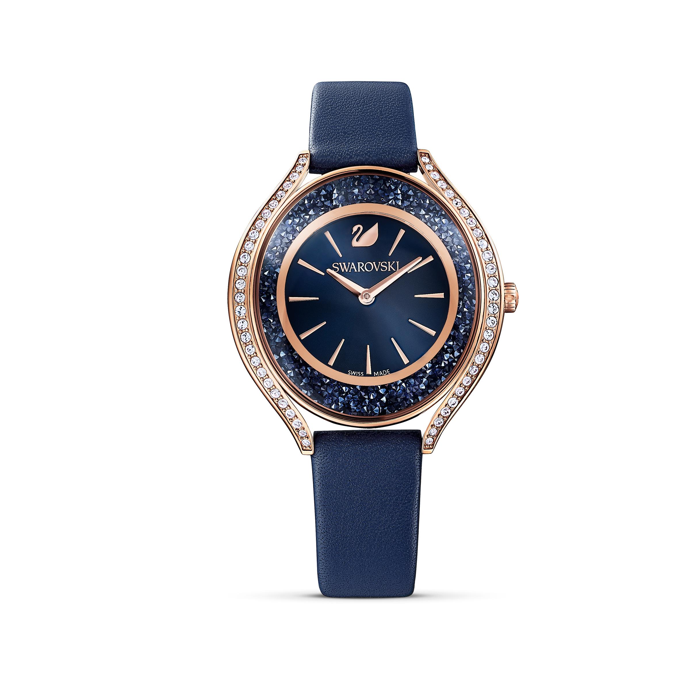 Montre Crystalline Aura, bracelet en cuir, bleu, PVD doré rose, Swarovski