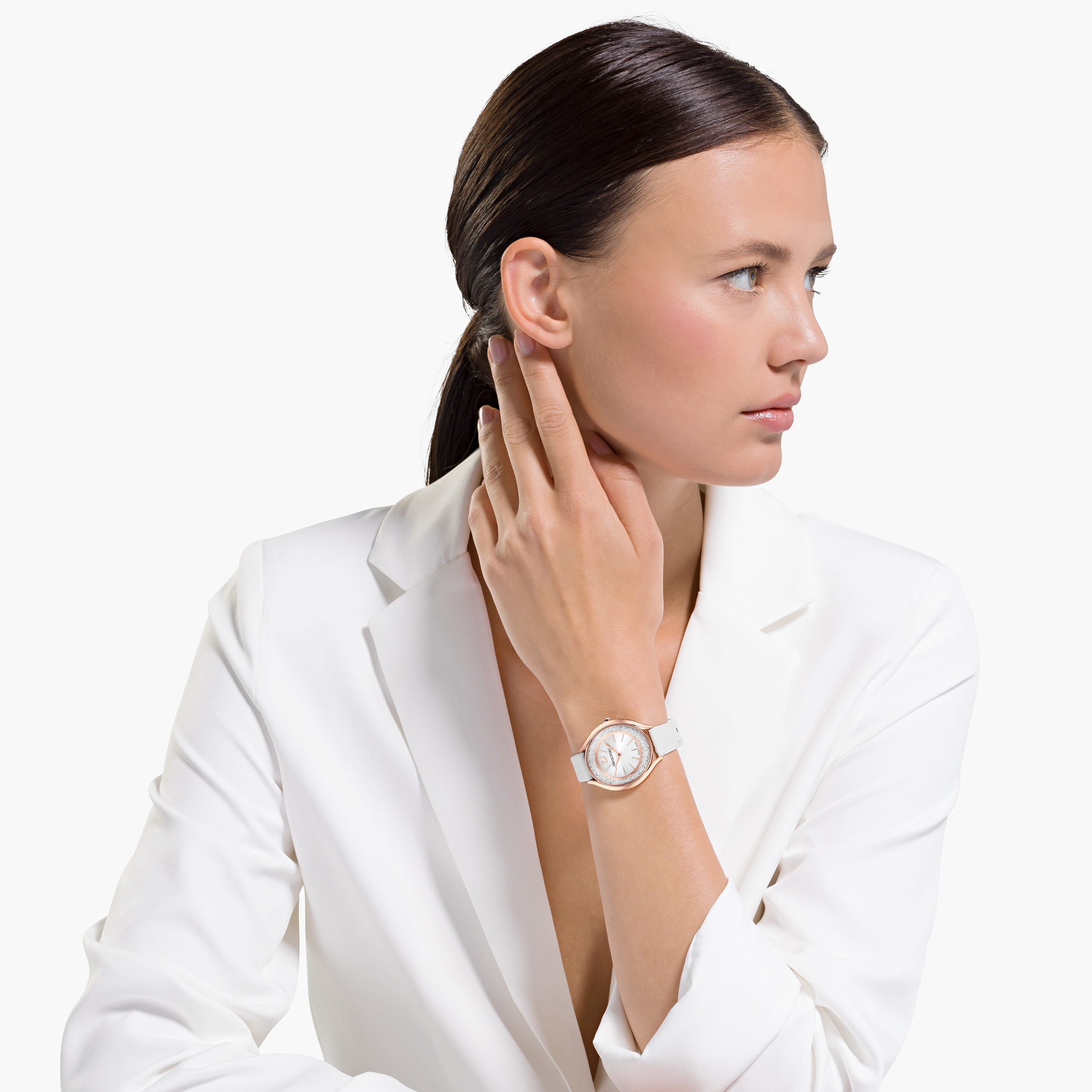 Montre Crystalline Aura, bracelet en cuir, blanc, PVD doré rose, Swarovski