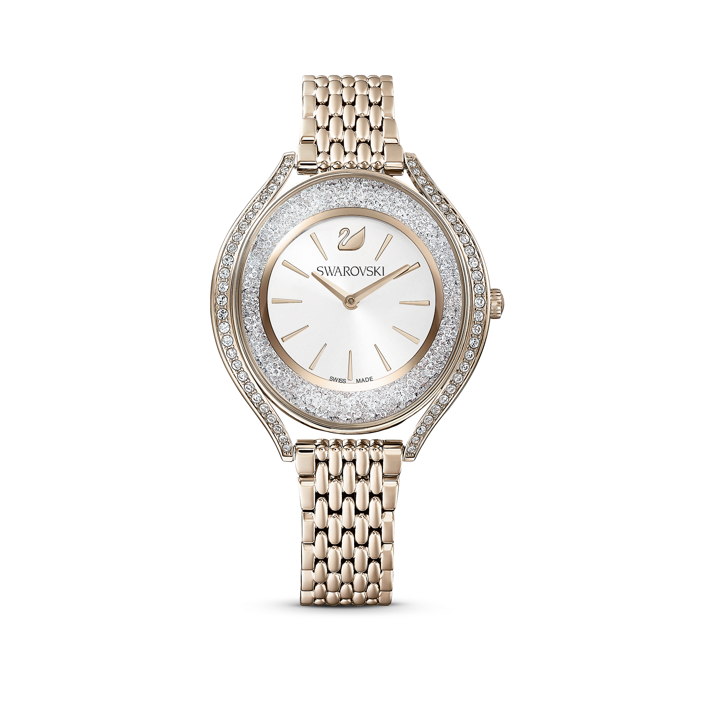 Montre Crystalline Aura, bracelet en métal, ton doré, PVD doré champagne, Swarovski