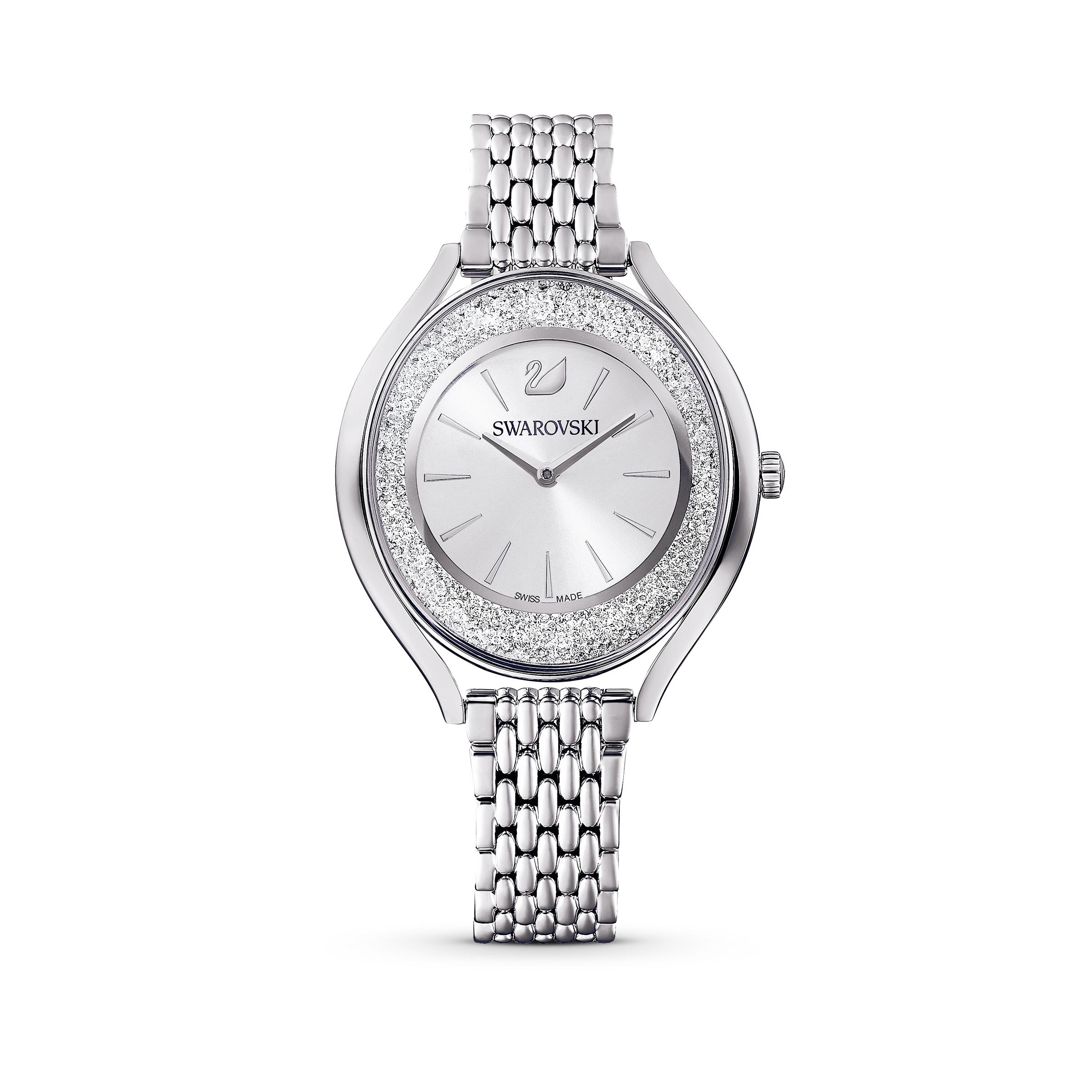 Montre Crystalline Aura, bracelet en métal, ton argenté, acier inoxydable, Swarovski