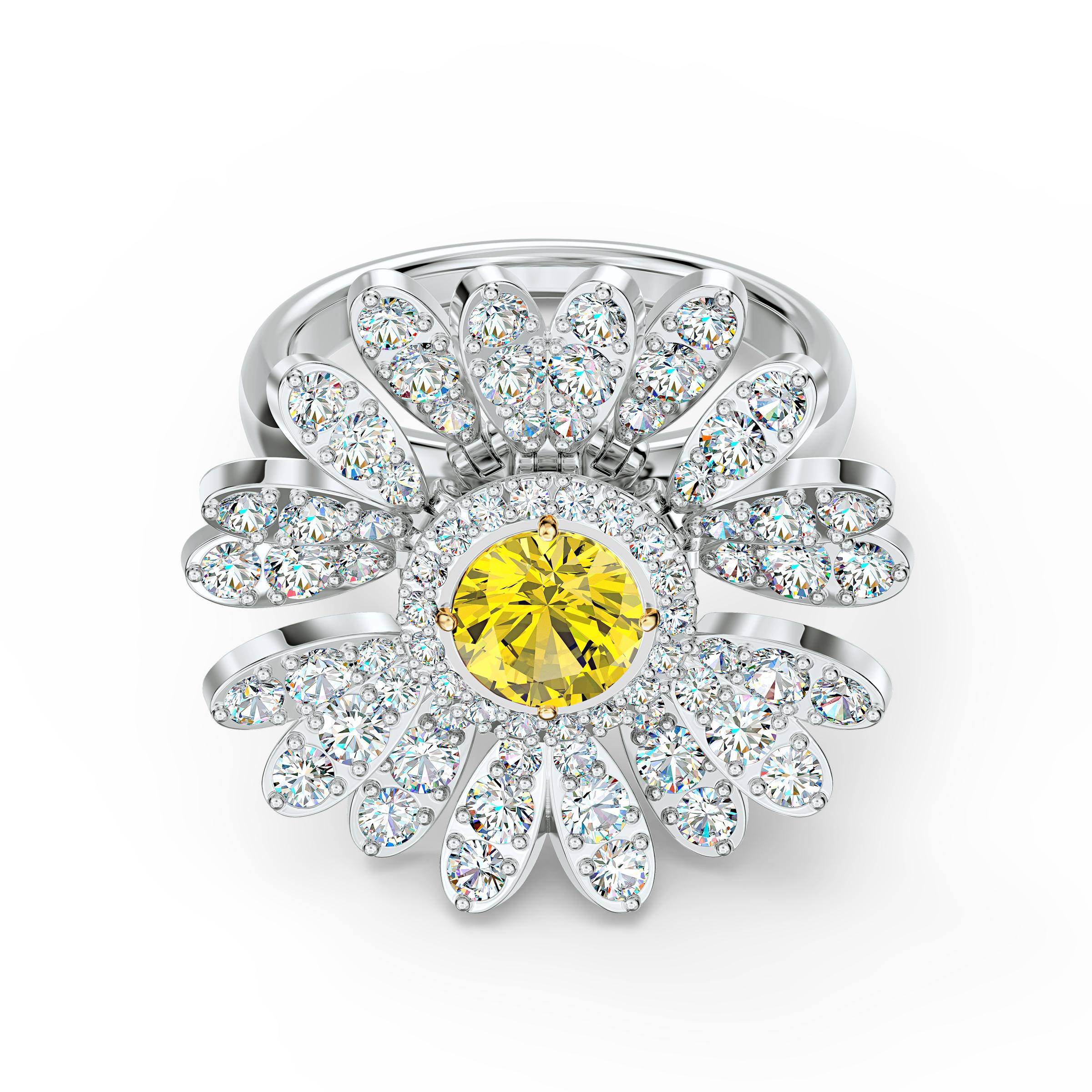 Bague Eternal Flower, jaune, finition mix de métal, Swarovski