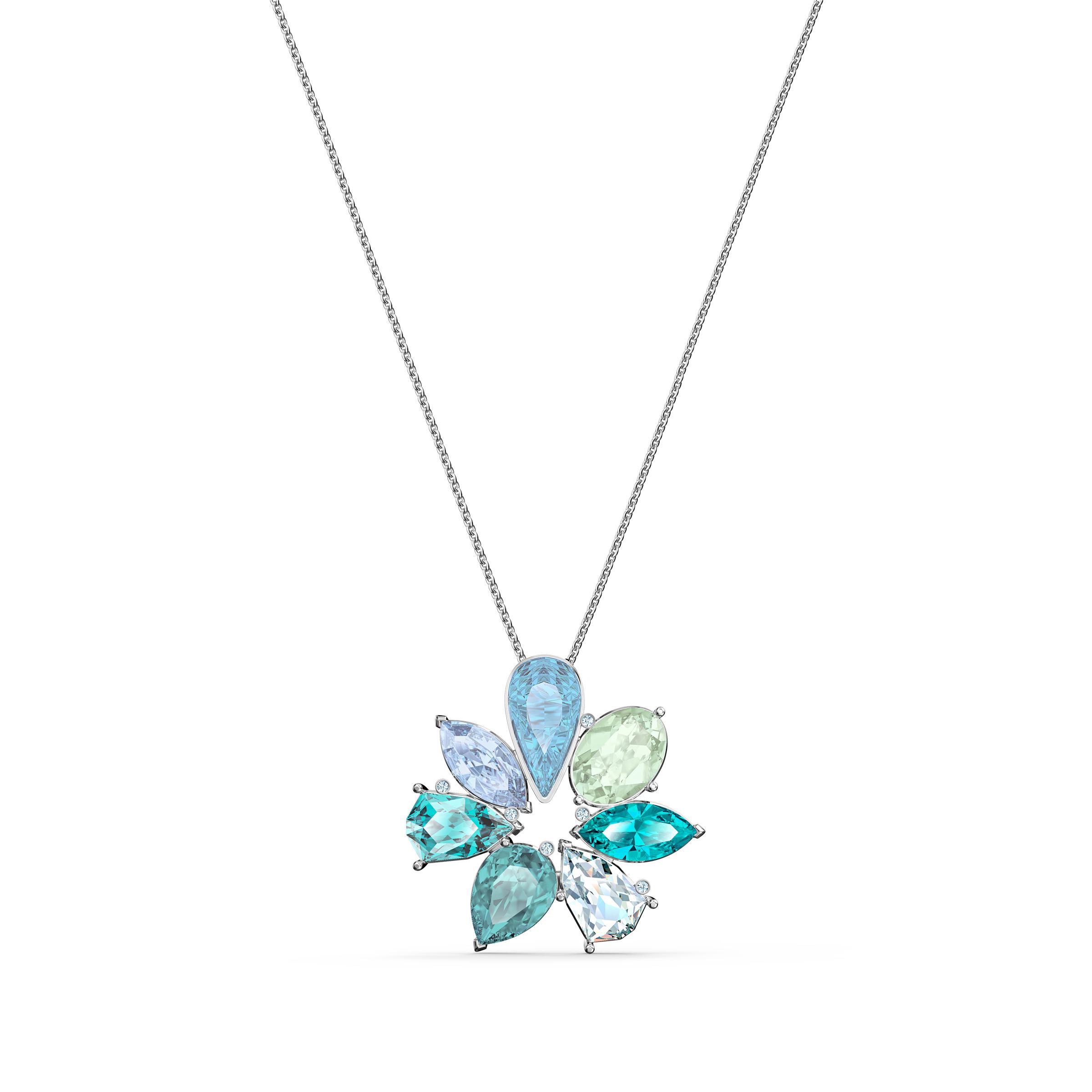 Pendentif Sunny Flower, multicolore clair, métal rhodié, Swarovski
