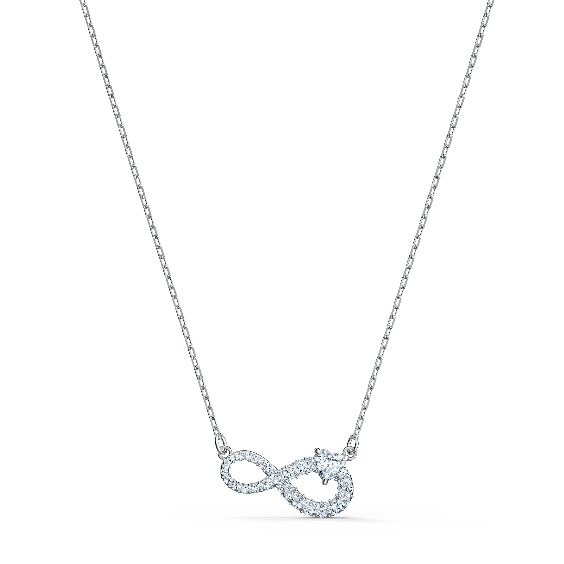 Collier Swarovski Infinity, blanc, métal rhodié Swarovski