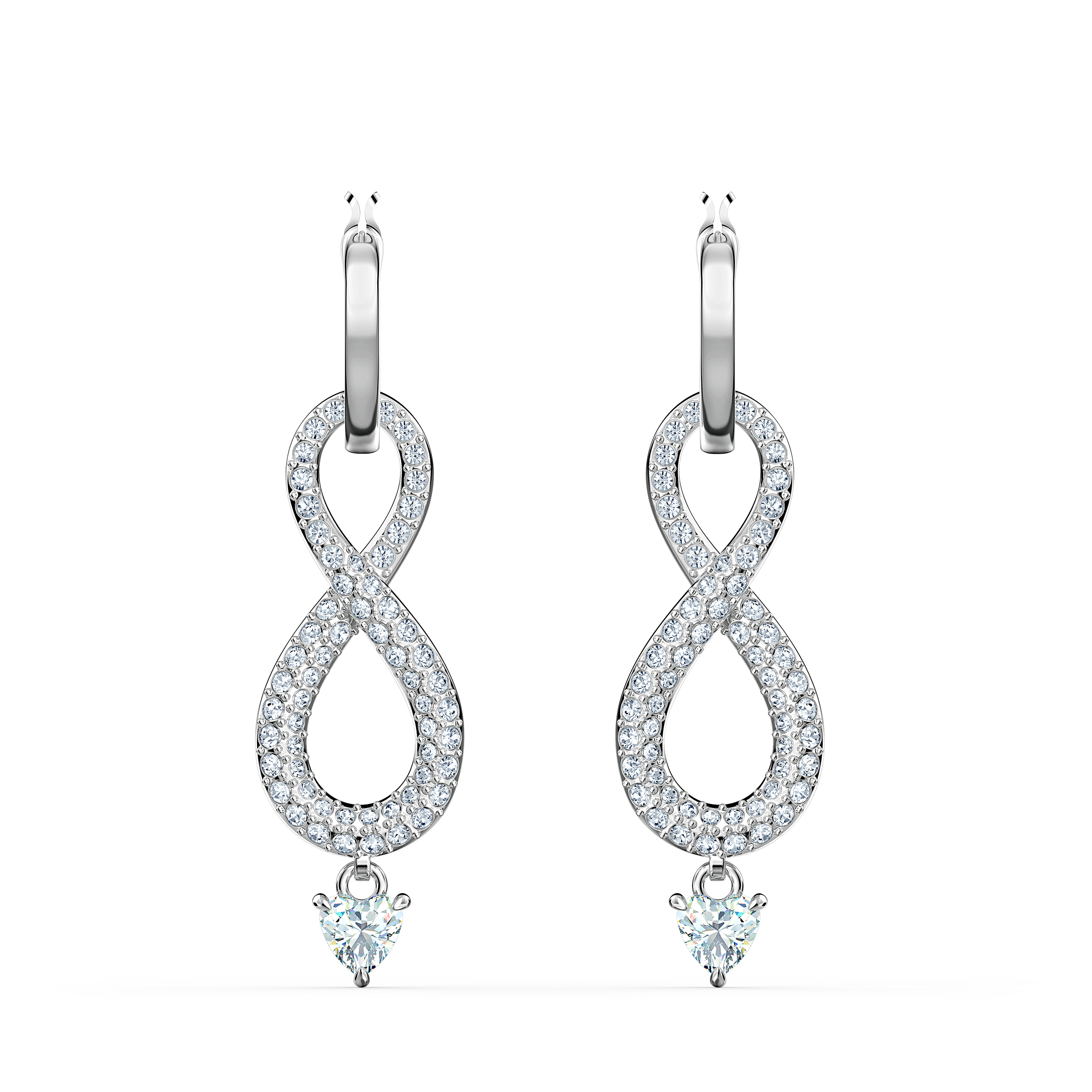 Boucles d'oreilles Swarovski Infinity, blanc, métal rhodié, Swarovski