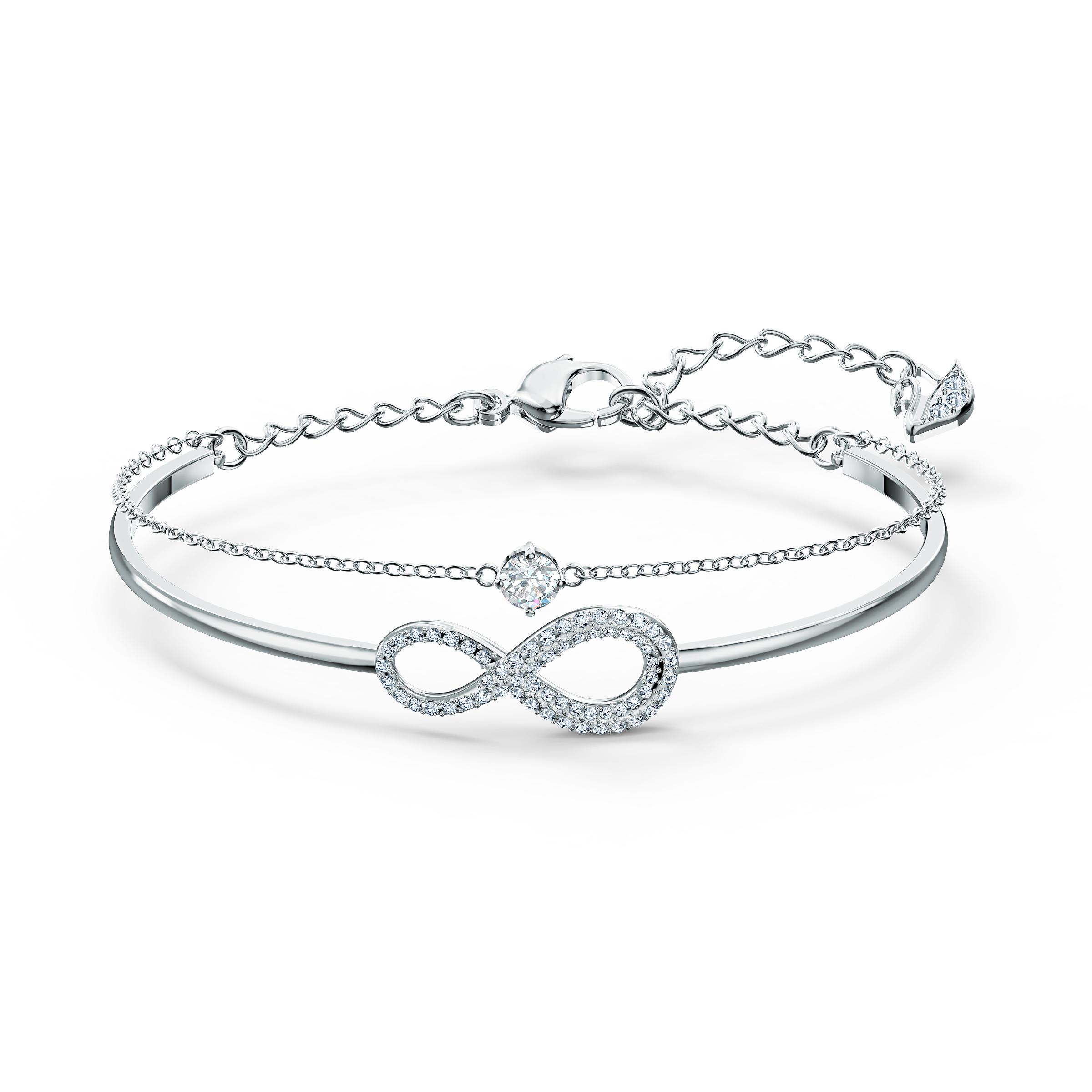 Bracelet-jonc Swarovski Infinity, blanc, métal rhodié, Swarovski