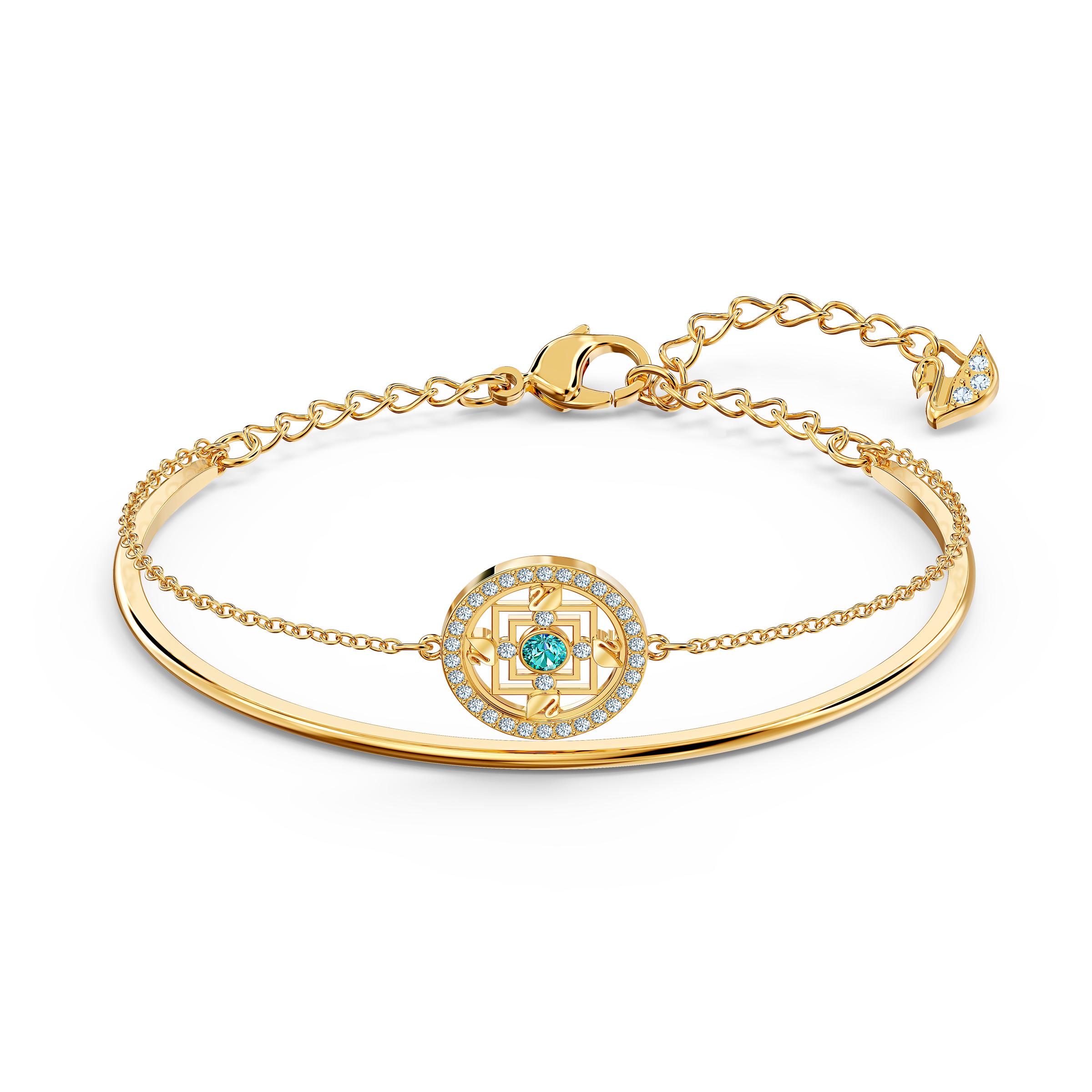 Bracelet-jonc Swarovski Symbolic Mandala, vert, métal doré, Swarovski