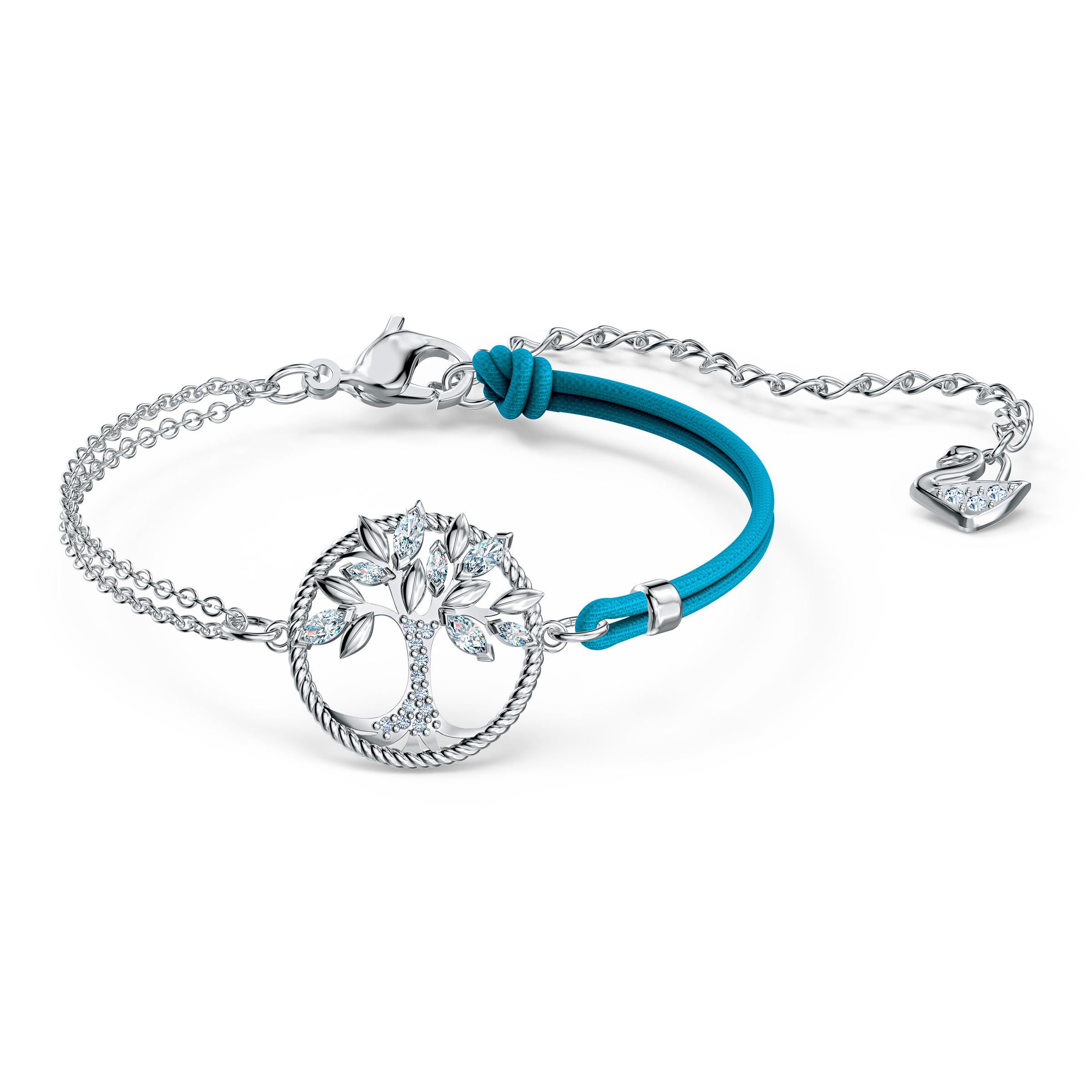 Bracelet Swarovski Symbolic Tree of Life, bleu, métal rhodié, Swarovski