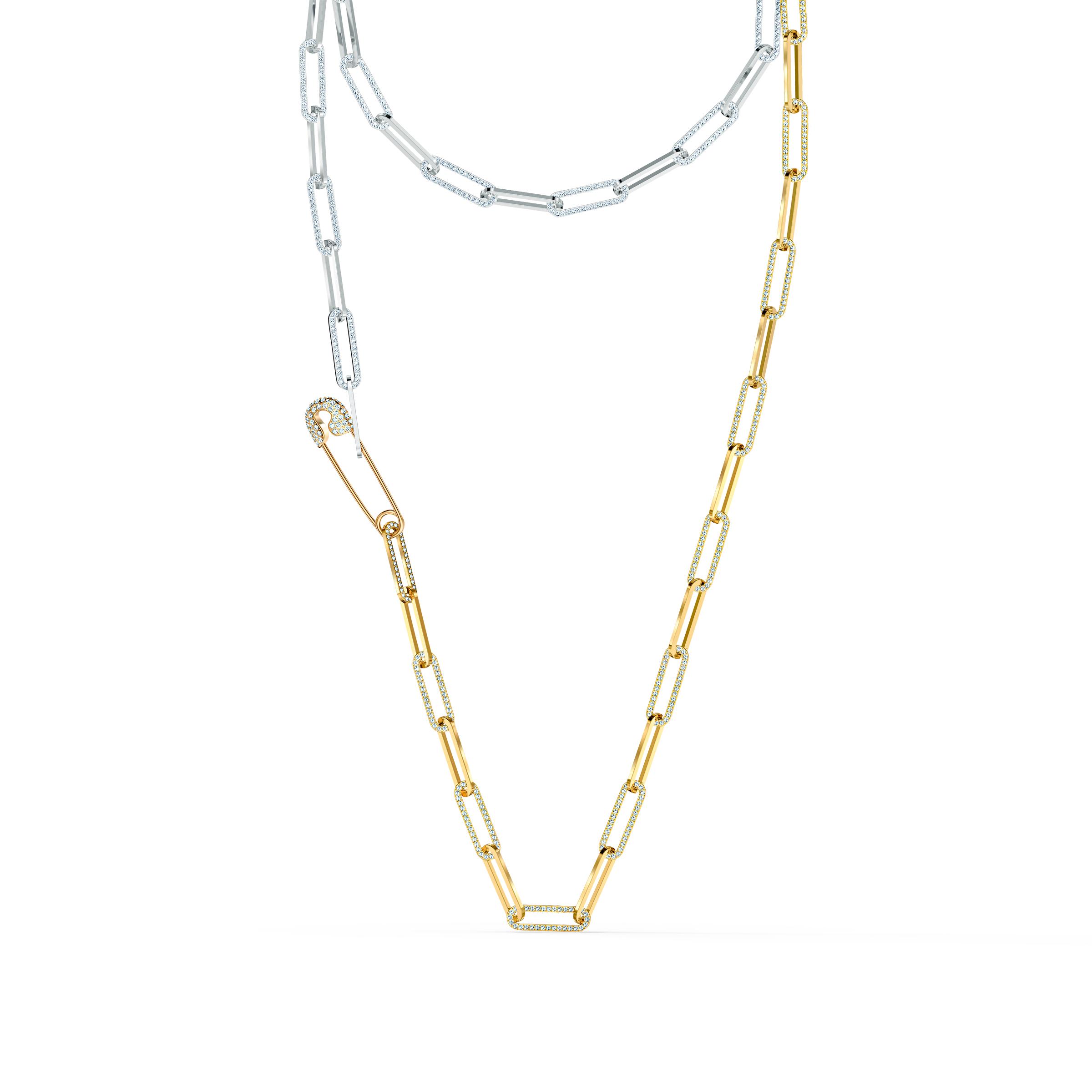 Collier So Cool, blanc, finition mix de métal, Swarovski