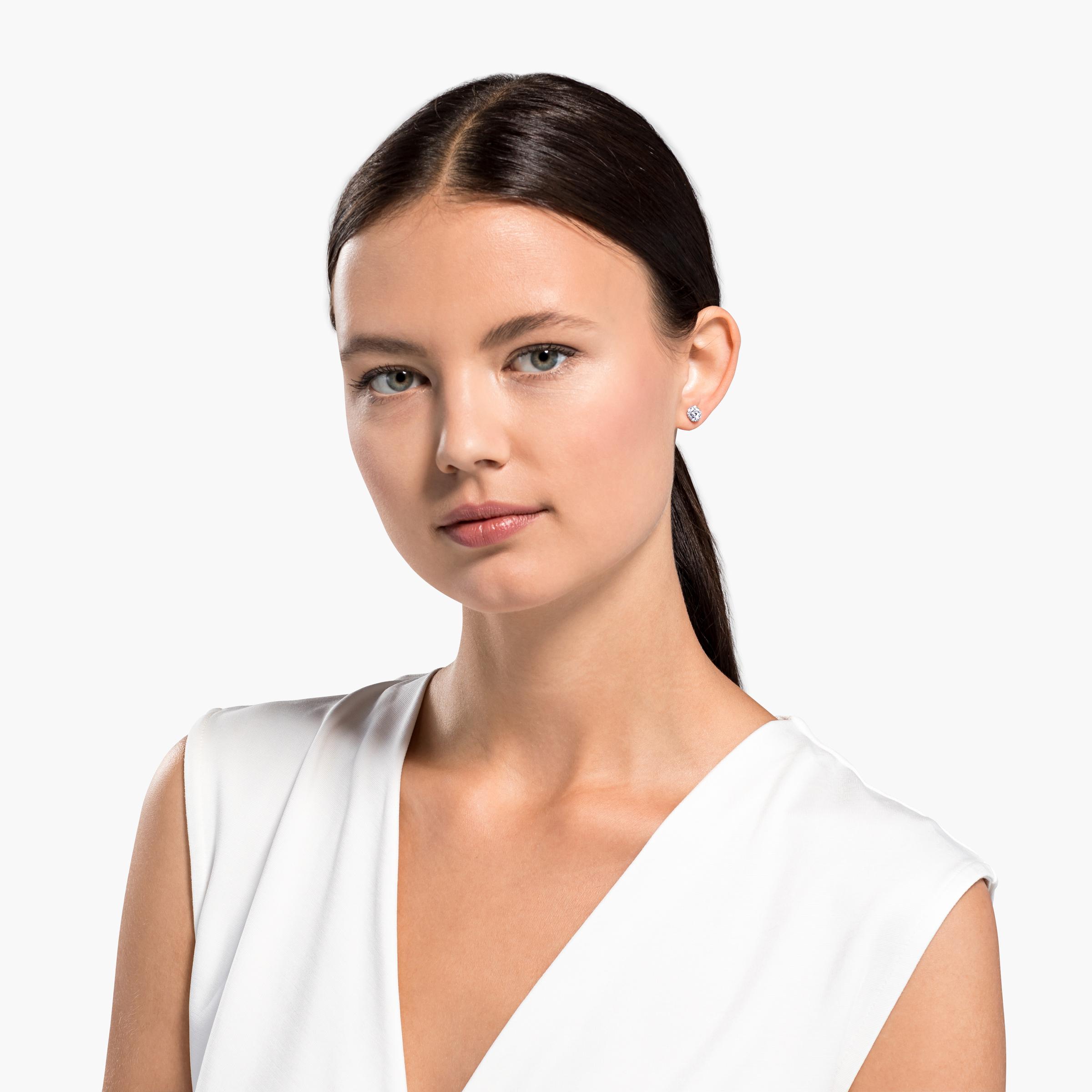 Boucles d'oreilles clous So Cool, blanc, métal rhodié, Swarovski