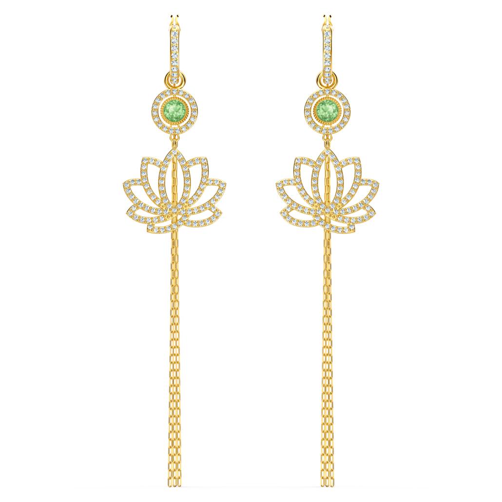 Boucles d'oreilles Swarovski Symbolic Lotus, vert, métal doré Swarovski