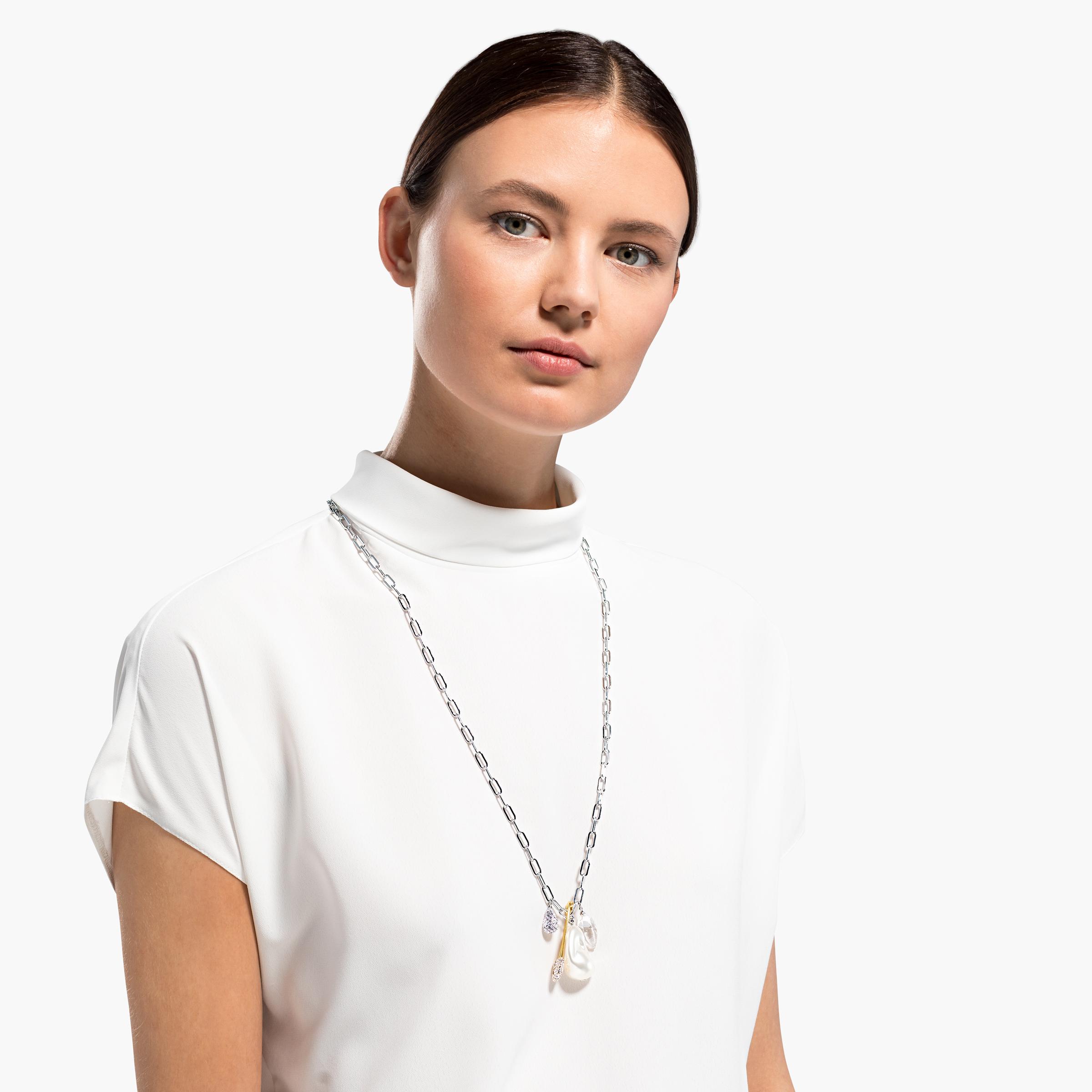 Collier So Cool Cluster, blanc, finition mix de métal, Swarovski
