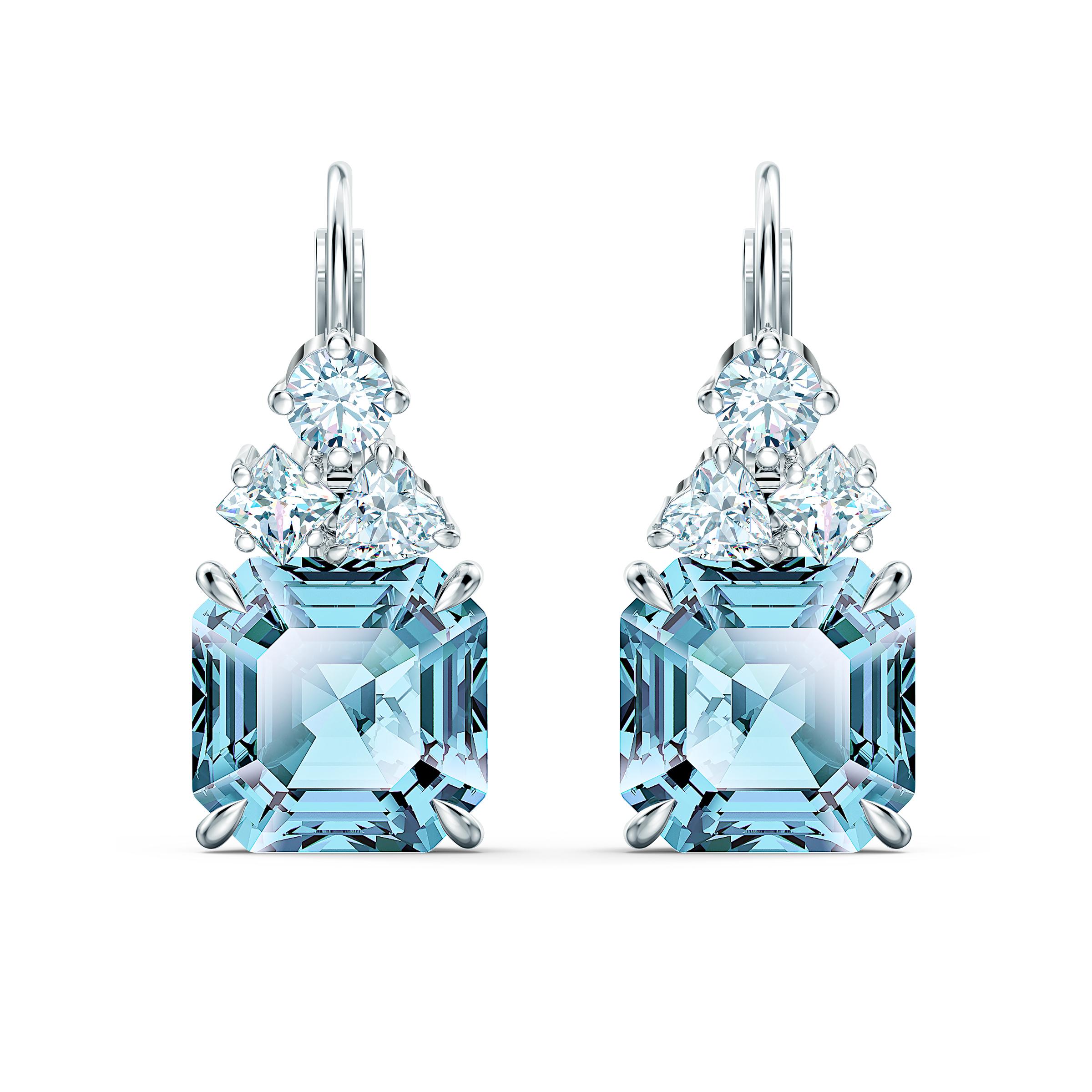 Boucles d'oreilles Sparkling, aiguemarine turquoise, métal rhodié, Swarovski
