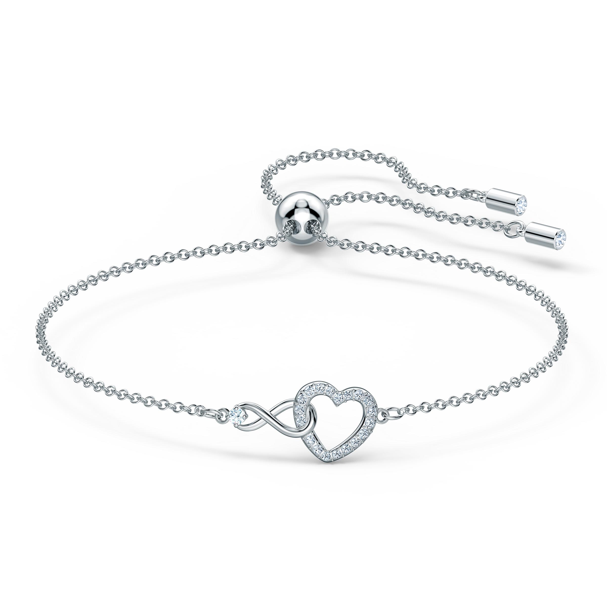 Bracelet Swarovski Infinity Heart, blanc, métal rhodié, Swarovski