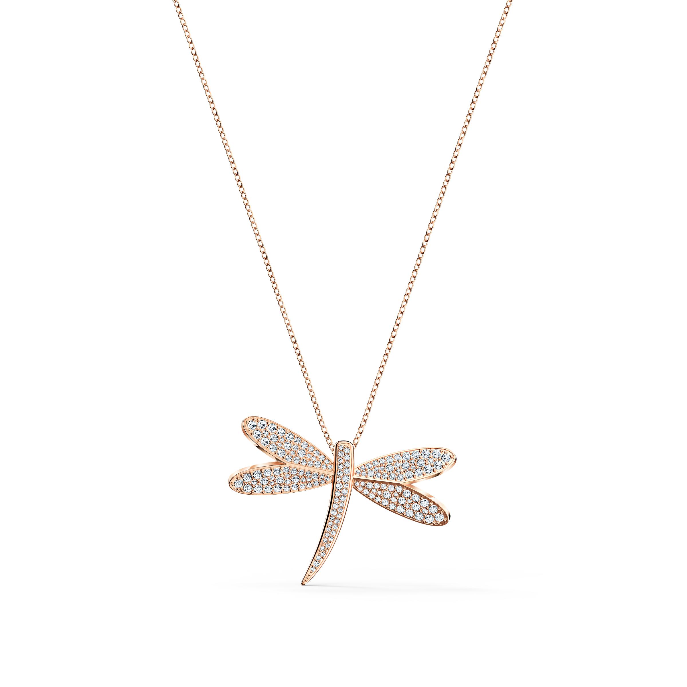 Collier Eternal Flower, blanc, métal doré rose, Swarovski