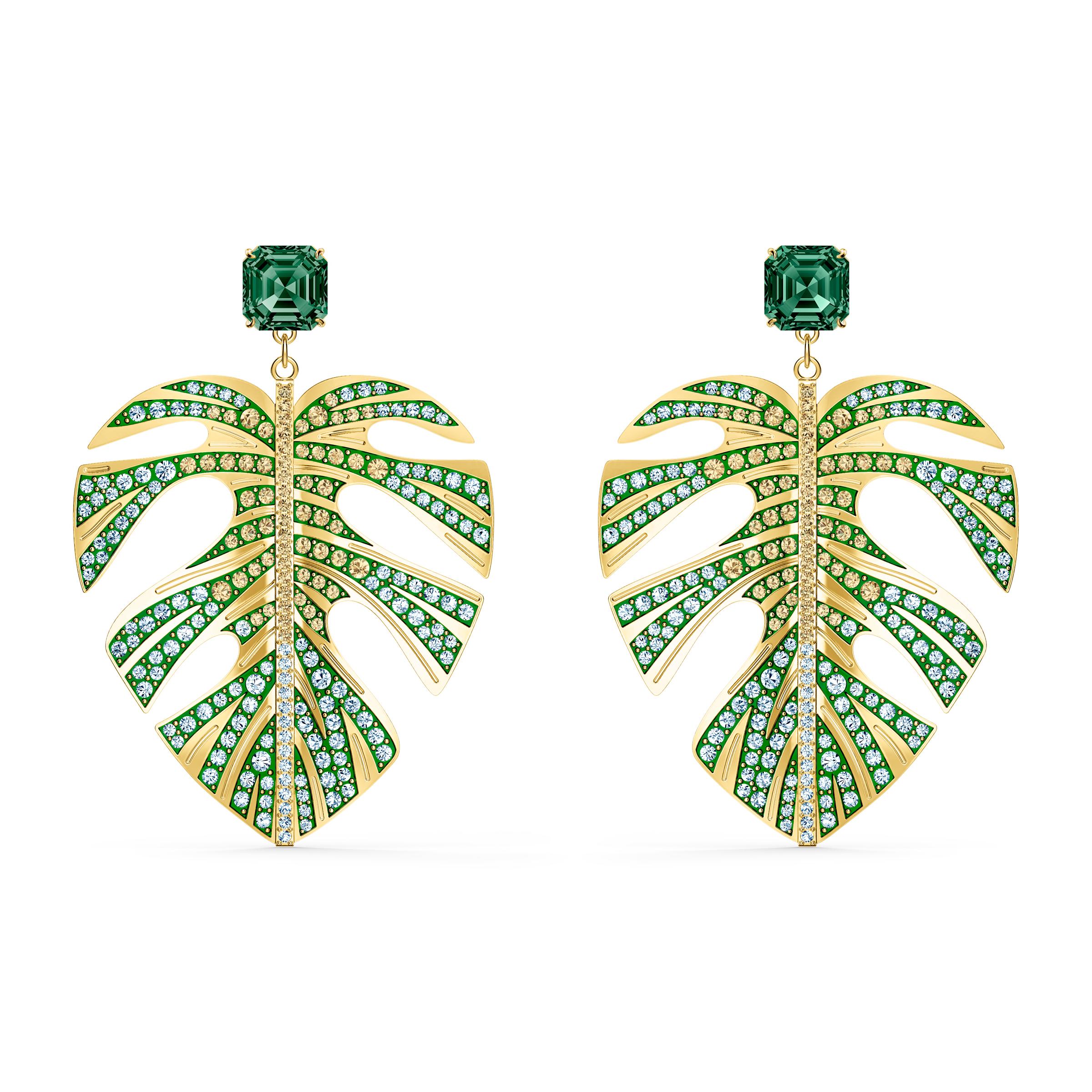 Boucles d'oreilles Tropical Leaf, vert, métal doré, Swarovski