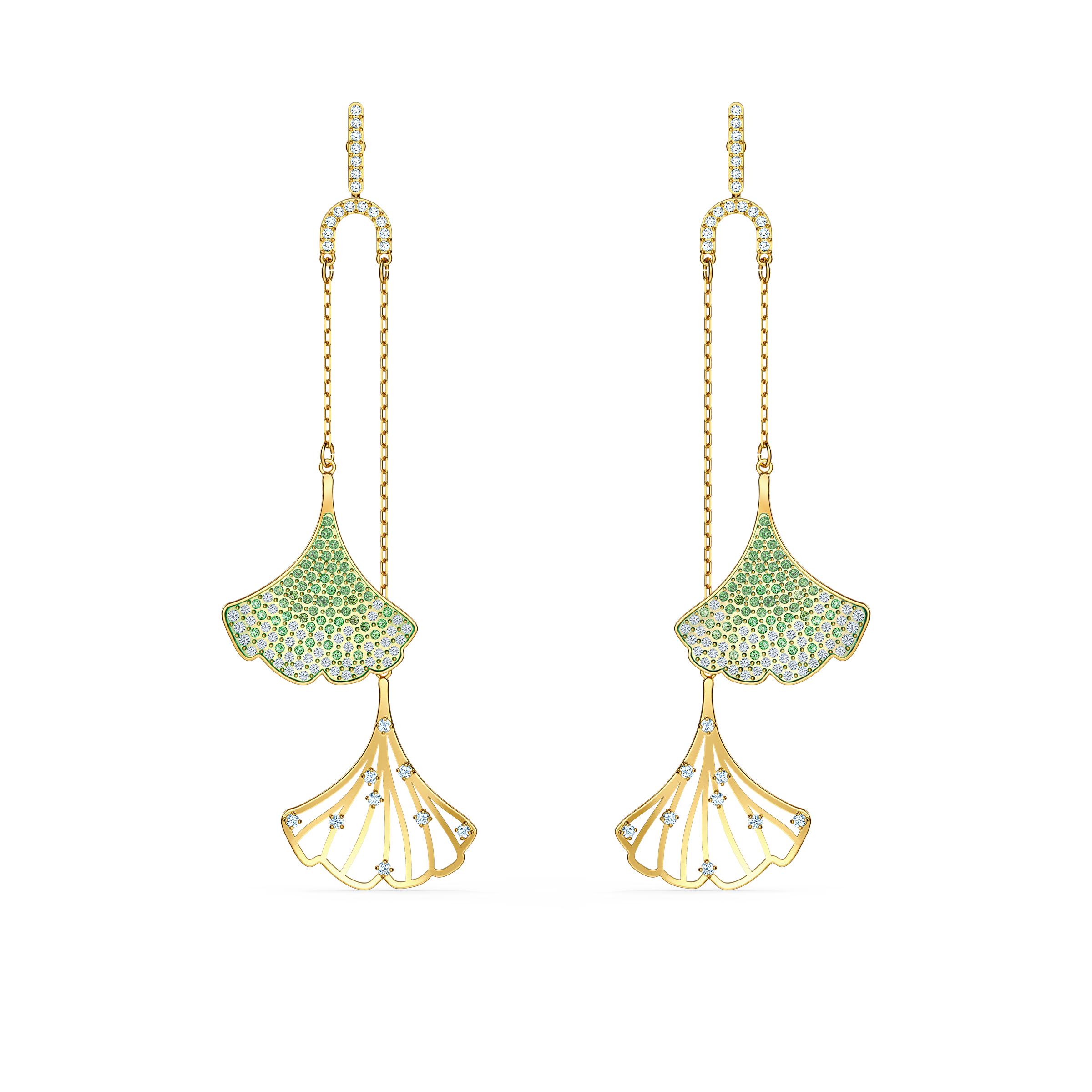 Boucles d'oreilles Stunning Ginko Mobile, vert, métal doré, Swarovski