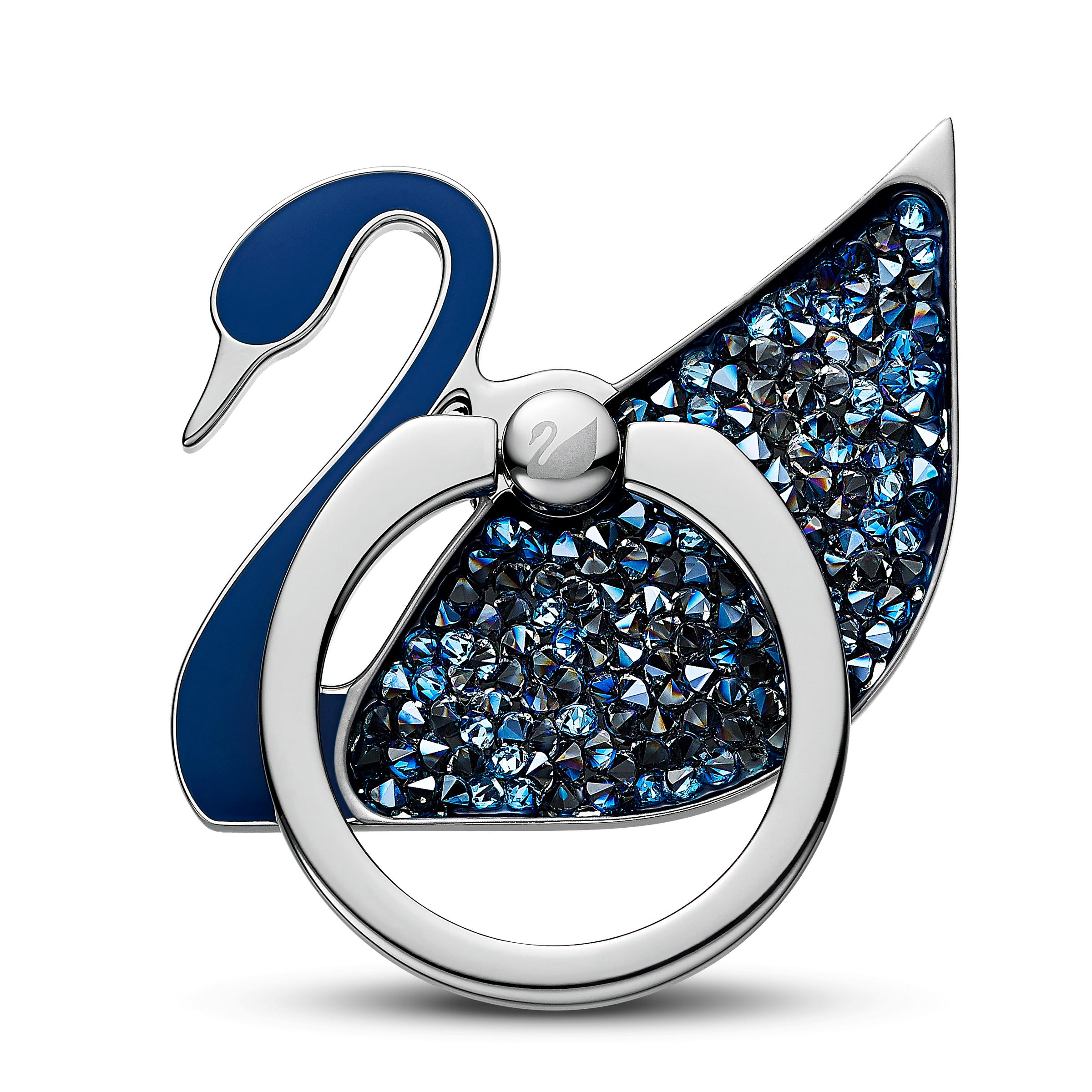 Anneau autocollant Swan, bleu, acier inoxydable, Swarovski