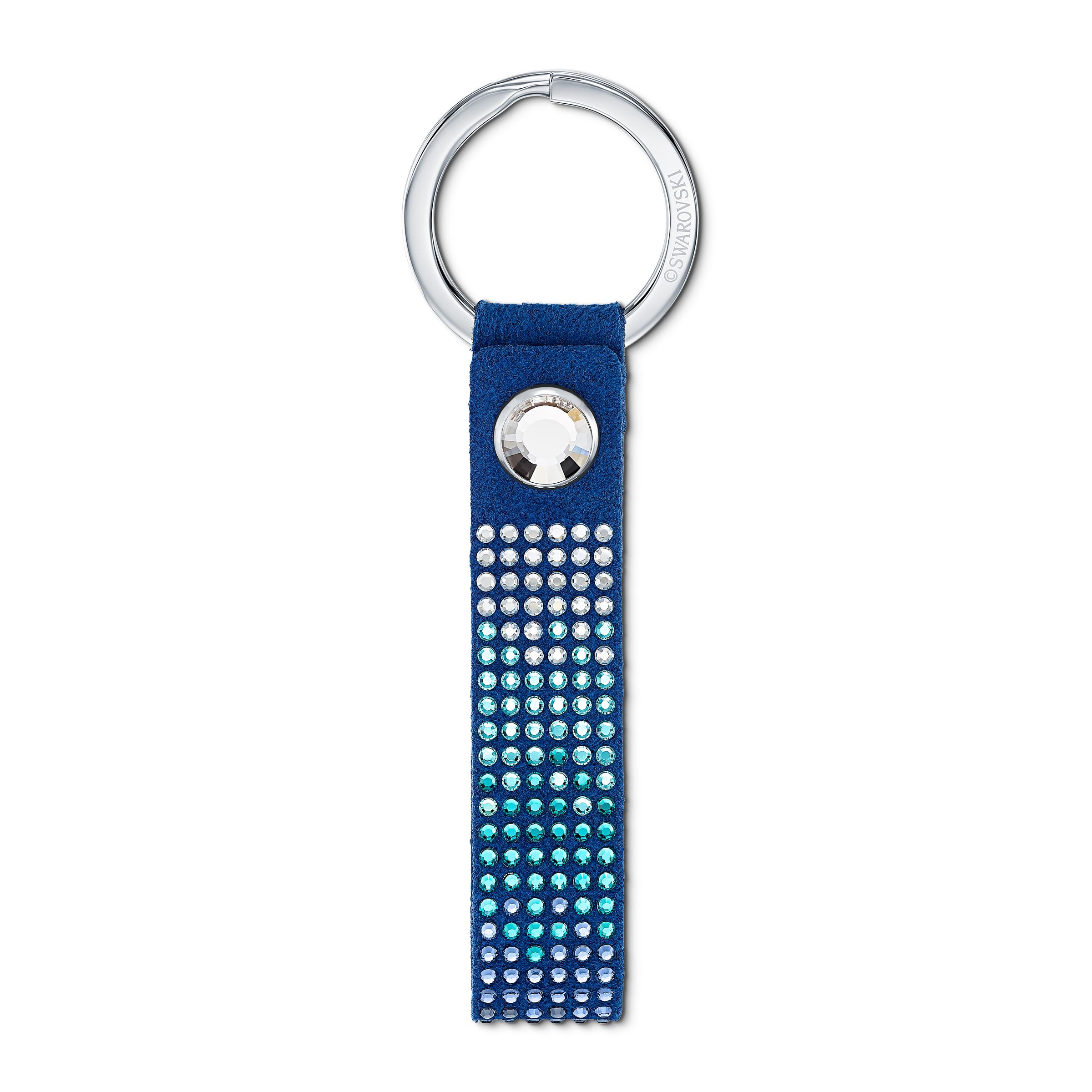 Porte-clés Anniversary, bleu, acier inoxydable, Swarovski