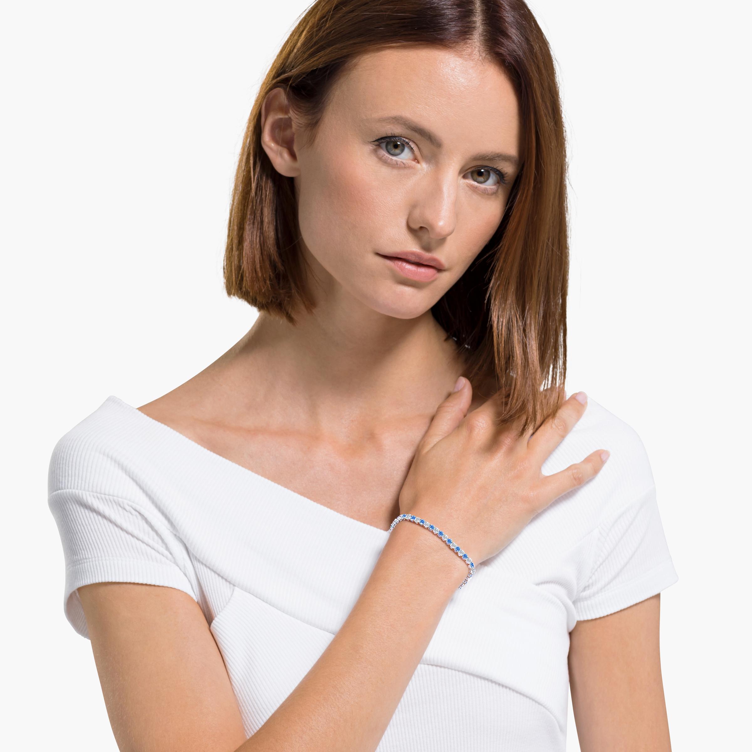Bracelet Tennis Deluxe, bleu, métal rhodié, Swarovski