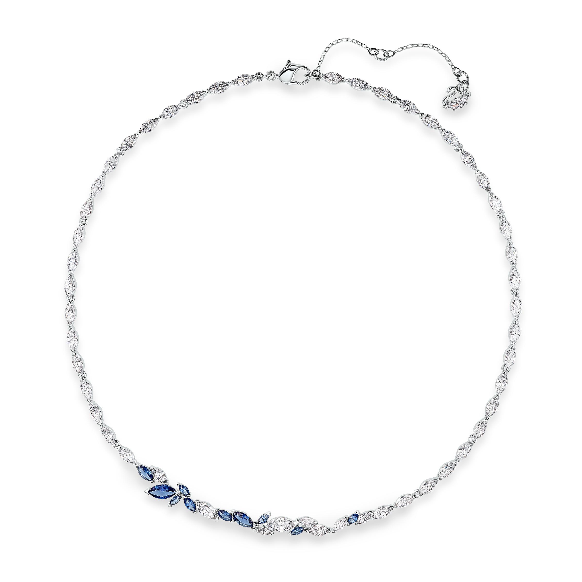 Collier Louison, bleu, métal rhodié Swarovski