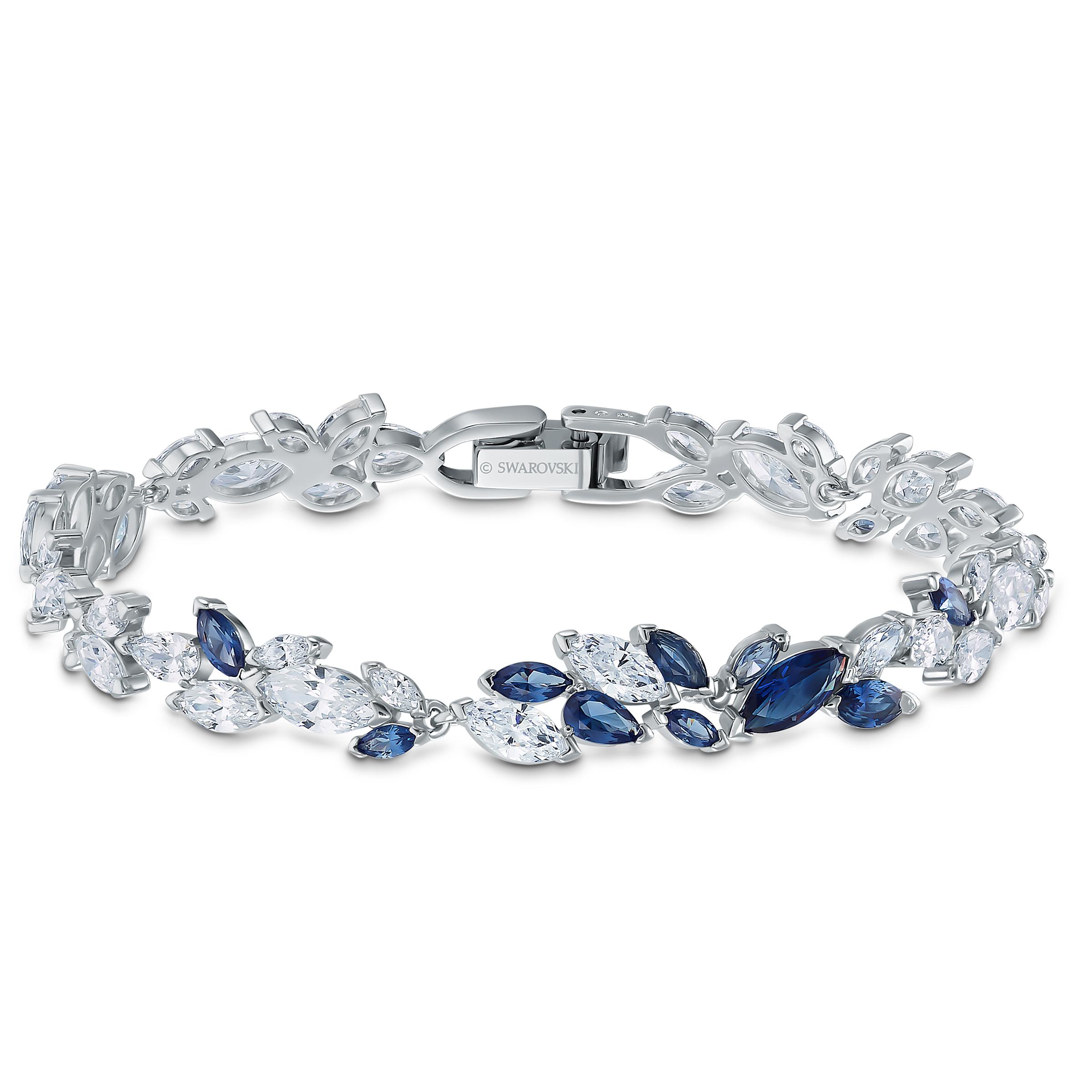 Bracelet Louison, bleu, métal rhodié, Swarovski