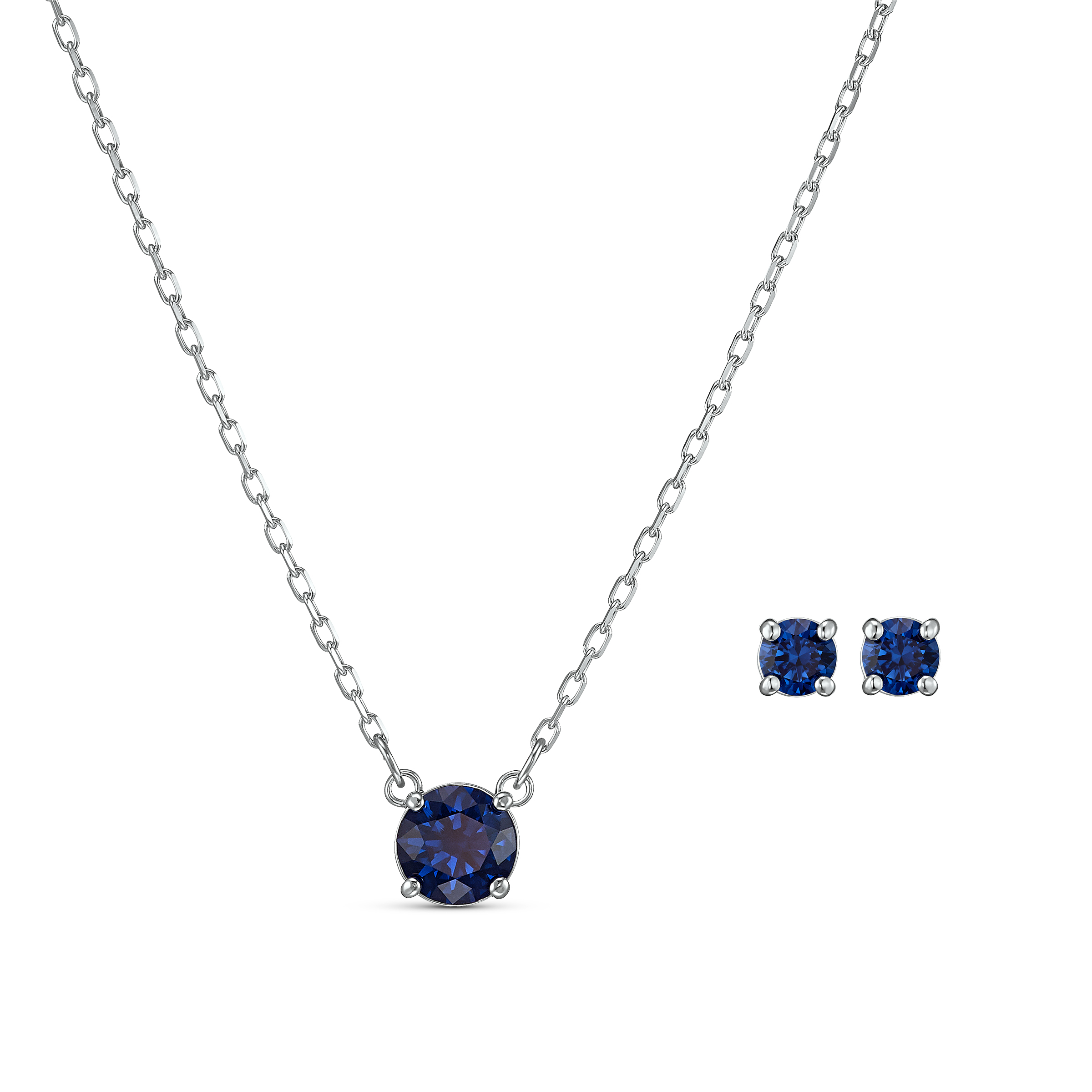 Parure Attract Round, bleu, métal rhodié, Swarovski