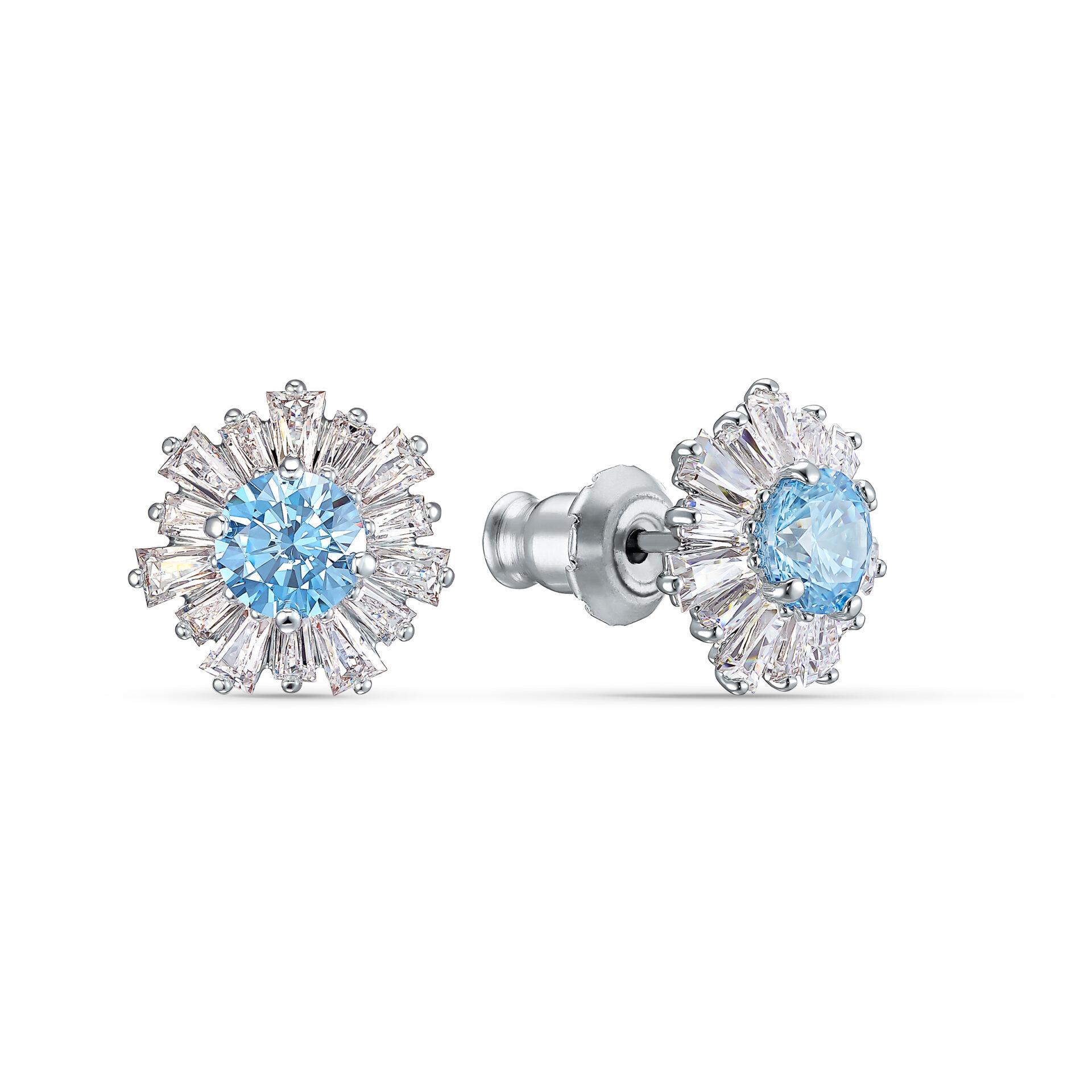 Boucles d'oreilles Sunshine, bleu, métal rhodié, Swarovski