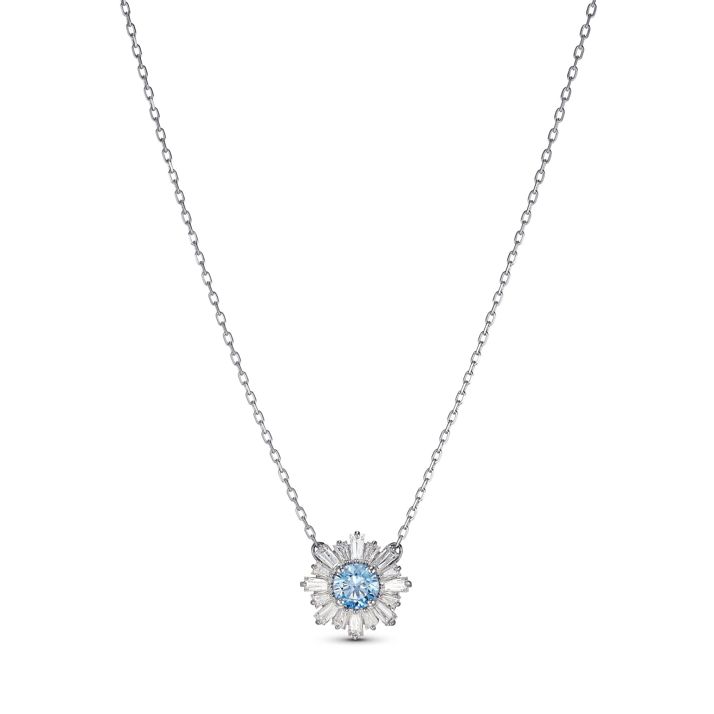 Pendentif Sunshine, bleu, métal rhodié, Swarovski