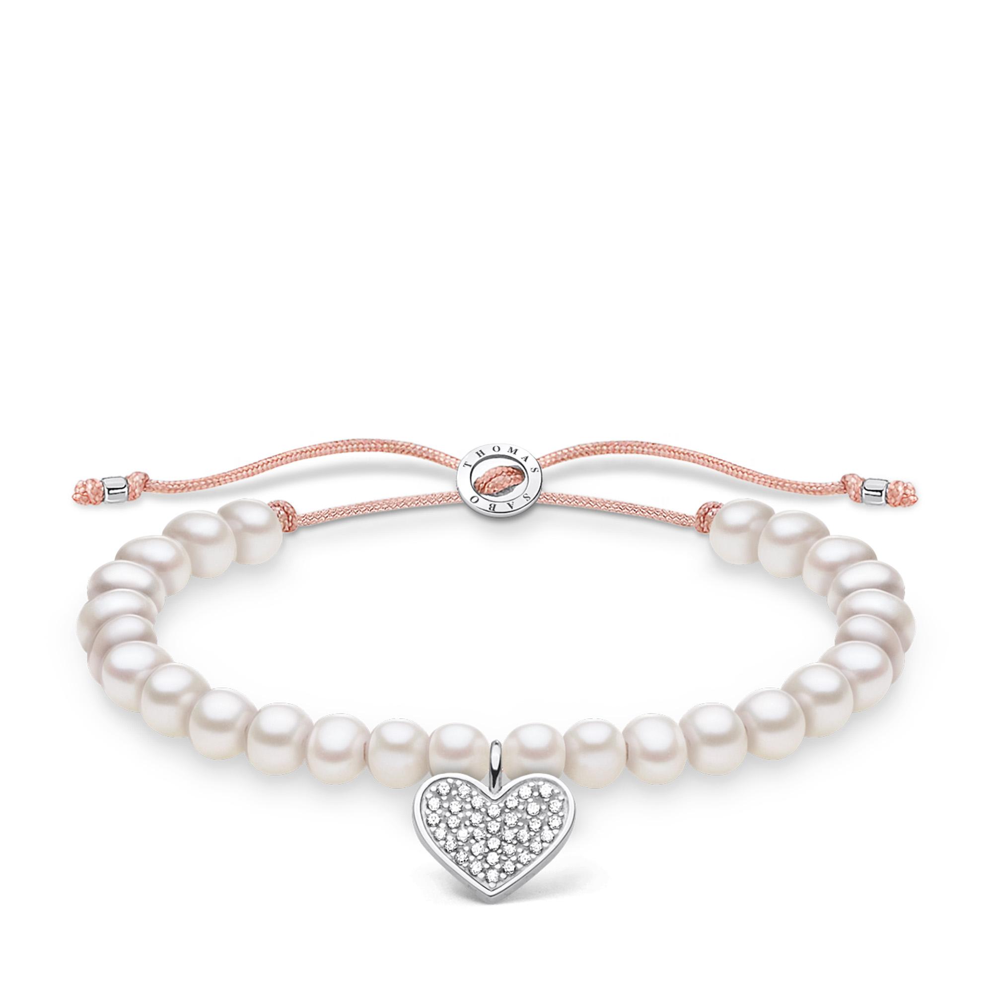 Bracelet perles blanche cœur avec pavé, Thomas Sabo