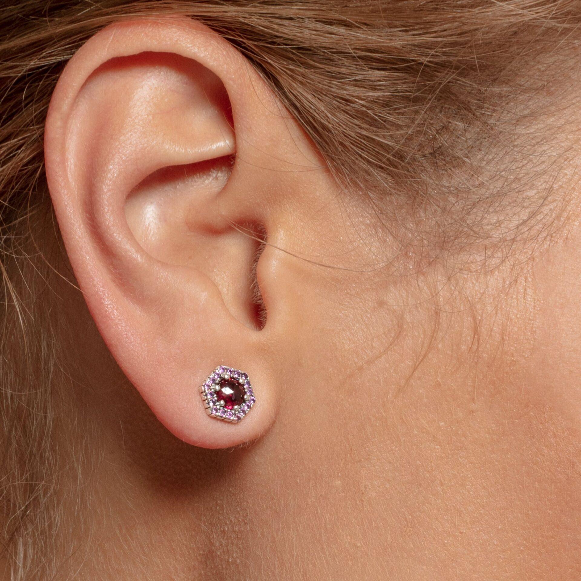 Clous d'oreilles Hexagone rouge, Thomas Sabo