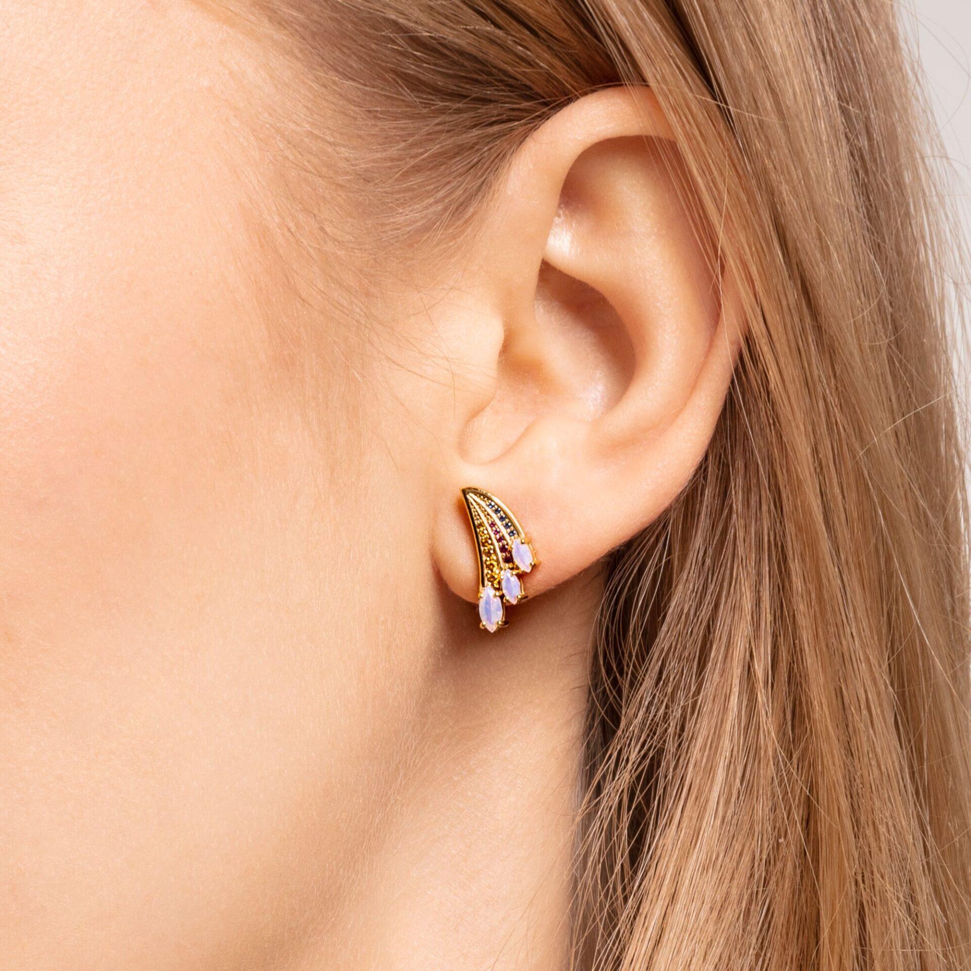 Clous d'oreilles aile de colibri multicolore or, Thomas Sabo