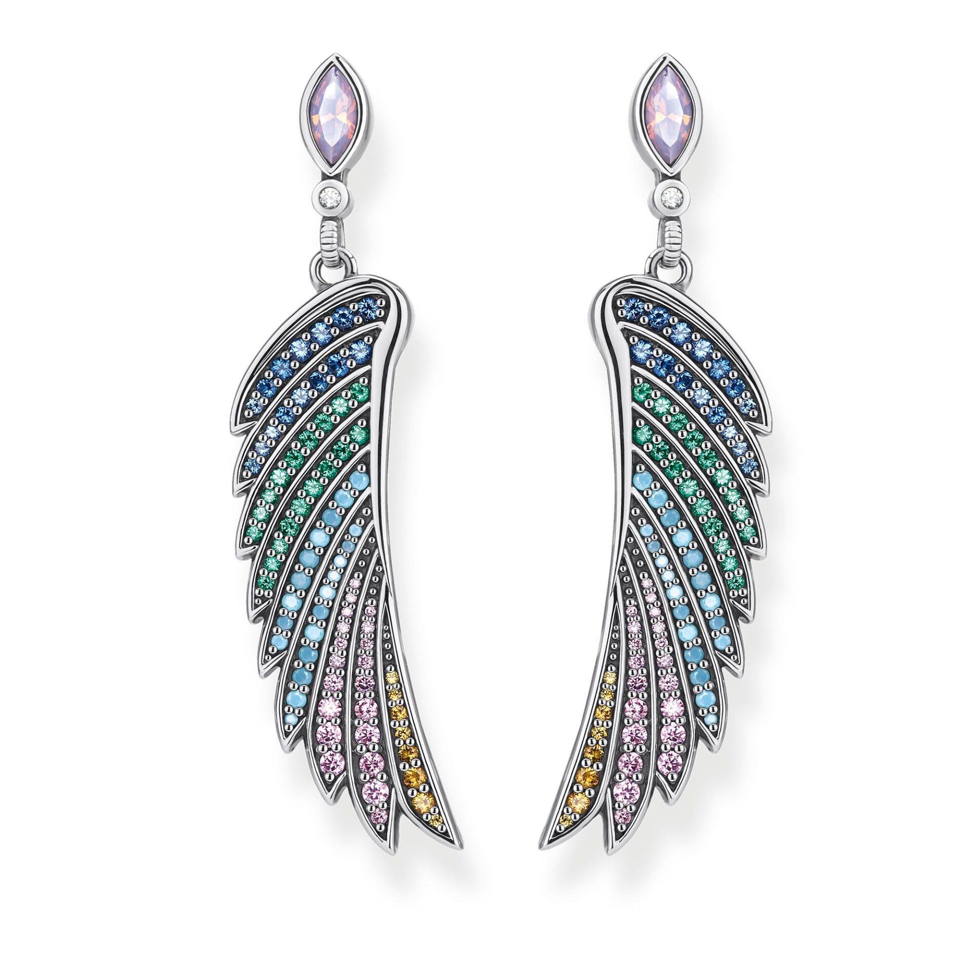 Boucles d'oreilles aile de colibri multicolore argent, Thomas Sabo