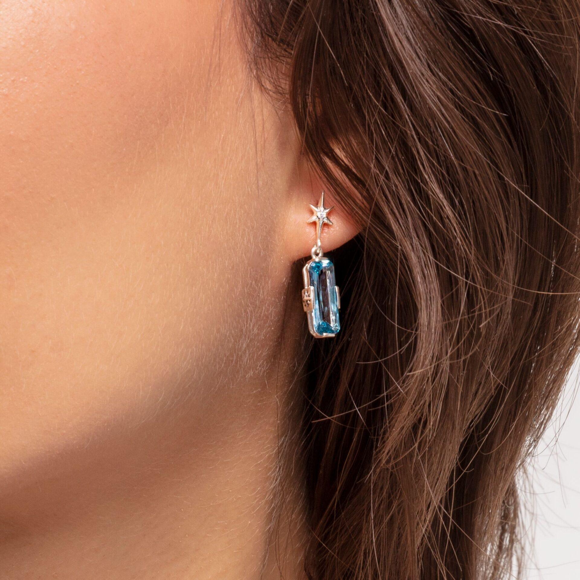 Clous d'oreilles Pierre bleue avec étoile, Thomas Sabo
